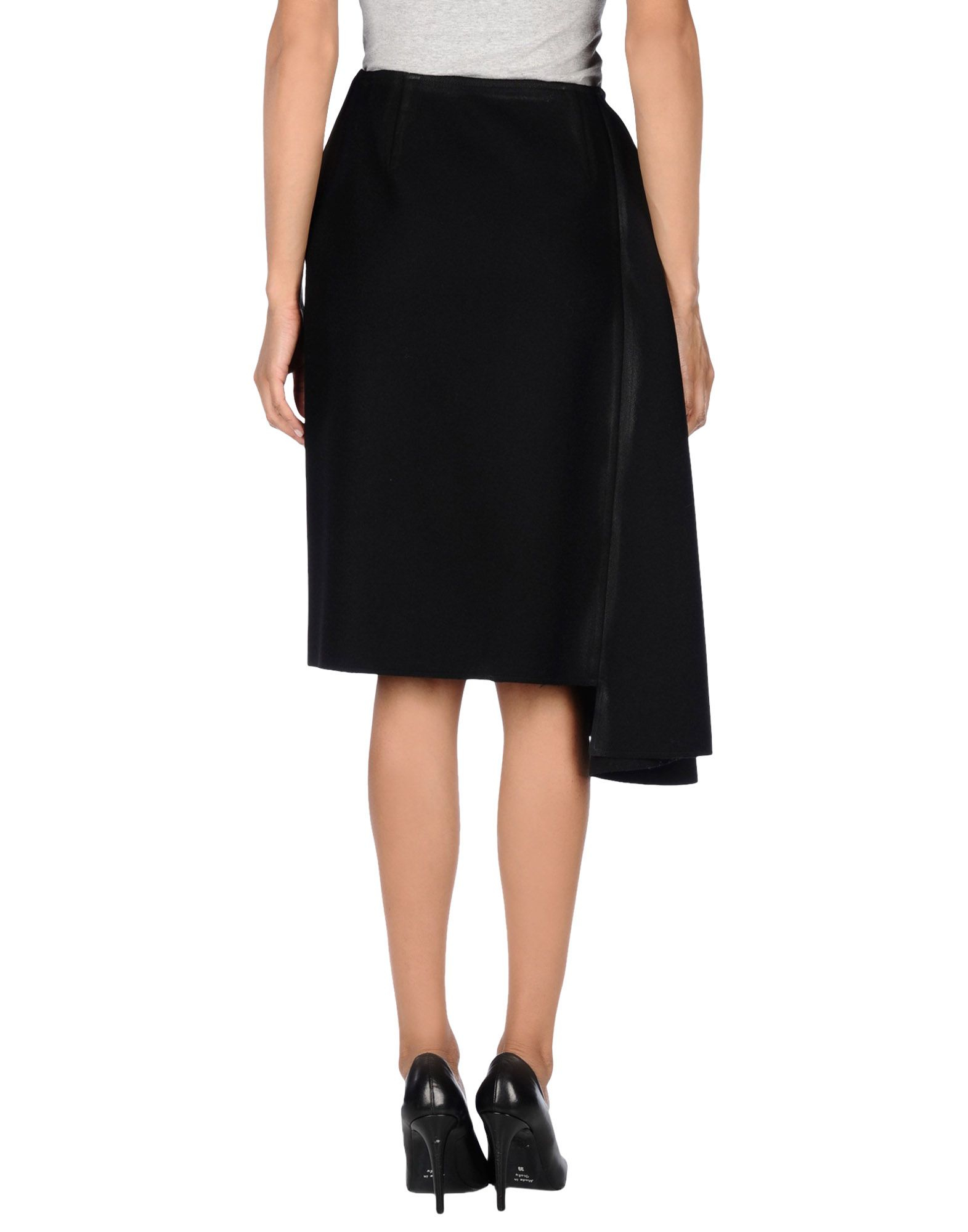 prada knee length skirt in black save 78 lyst