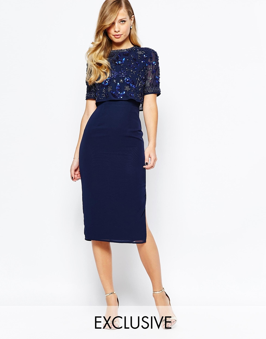 frock and frill embellished overlay pencil dress with open back and split in blue lyst. Black Bedroom Furniture Sets. Home Design Ideas