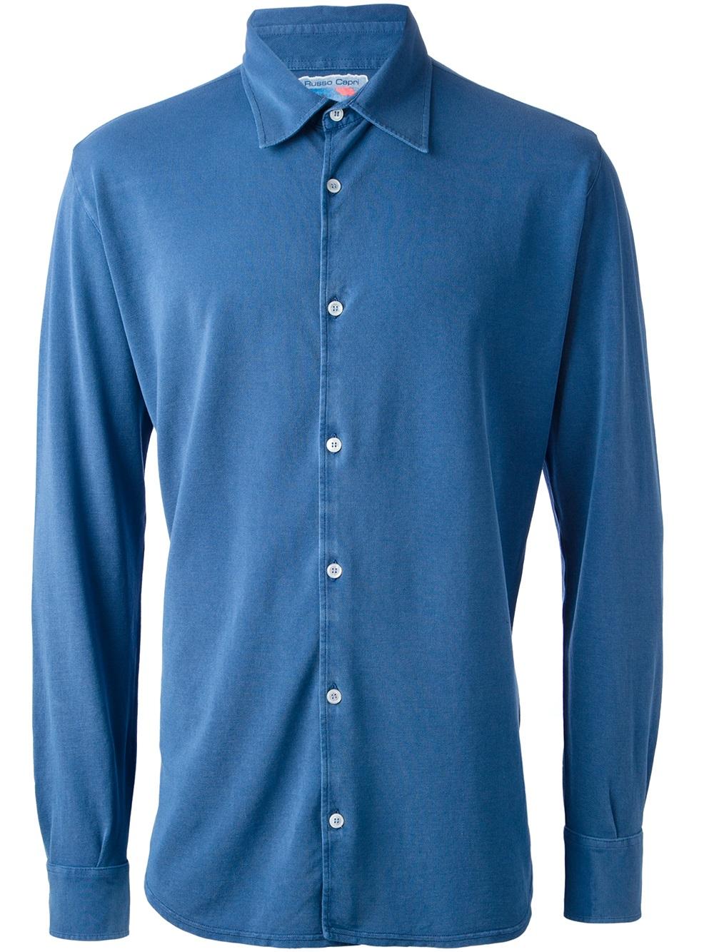 Fedeli long sleeve polo shirt in blue for men lyst for Men s lightweight long sleeve polo shirts