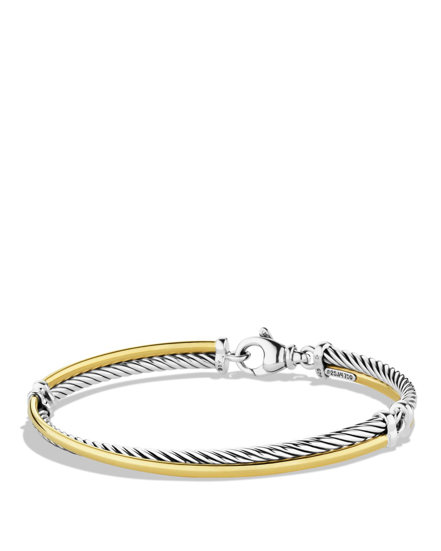 David Yurman Crossover Bracelet With Gold In Metallic Lyst