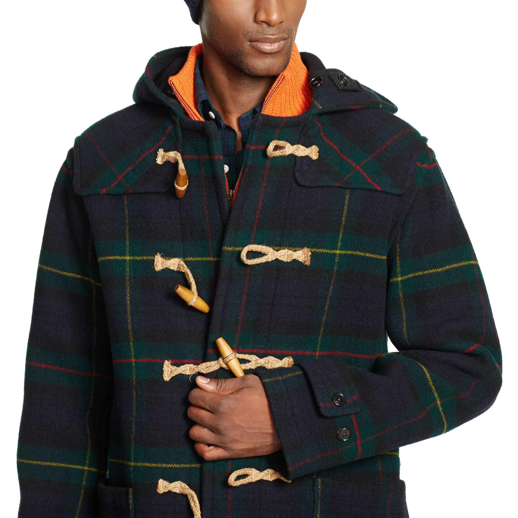 98b212c85 ... canada polo ralph lauren tartan hooded wool toggle coat in gray for men  lyst 0de8c 9f034