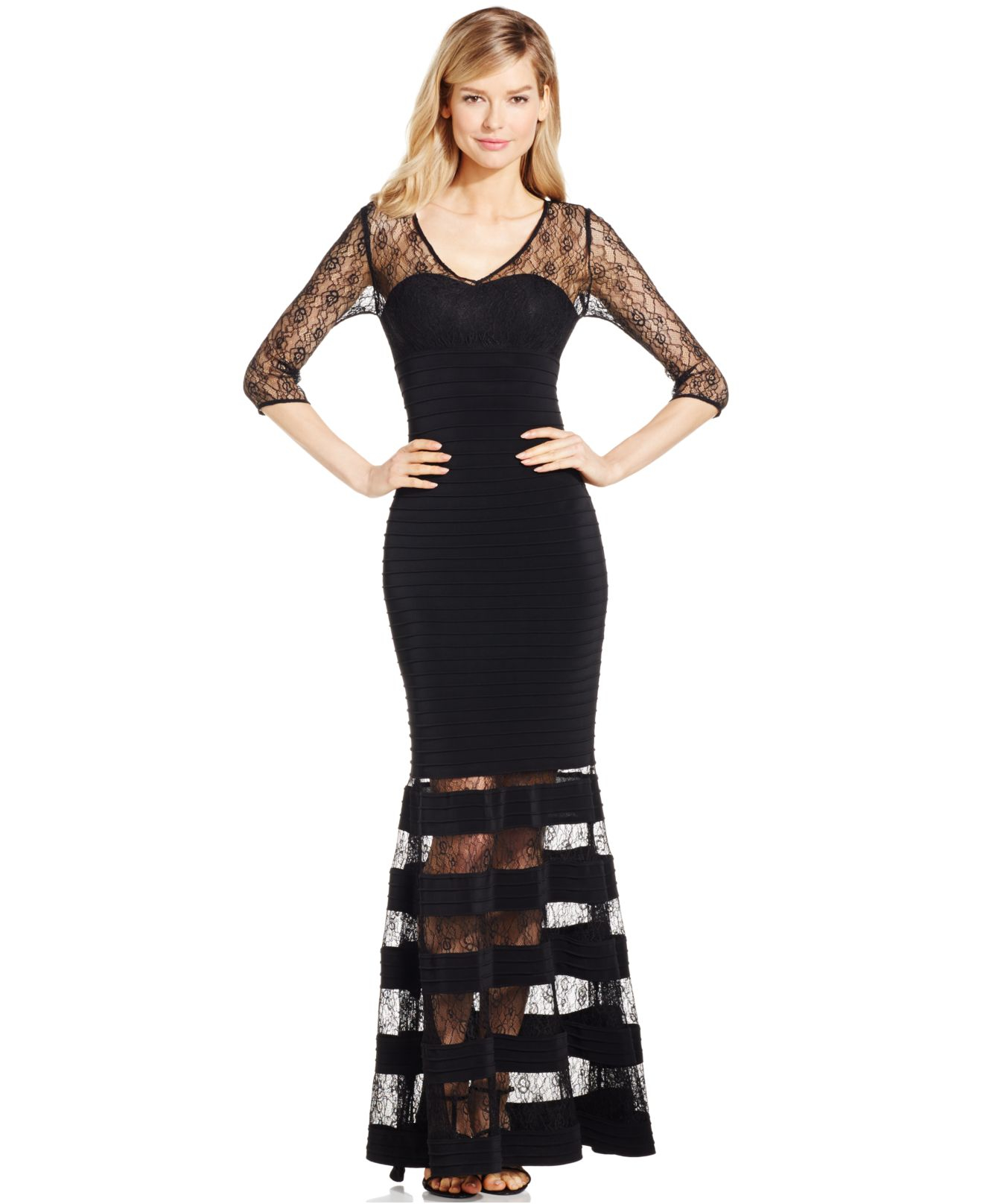 Lyst Js Collections Lace Combo V Neck Dress In Black