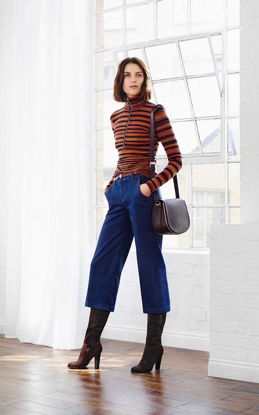 karen millen stripe roll neck jumper lyst. Black Bedroom Furniture Sets. Home Design Ideas