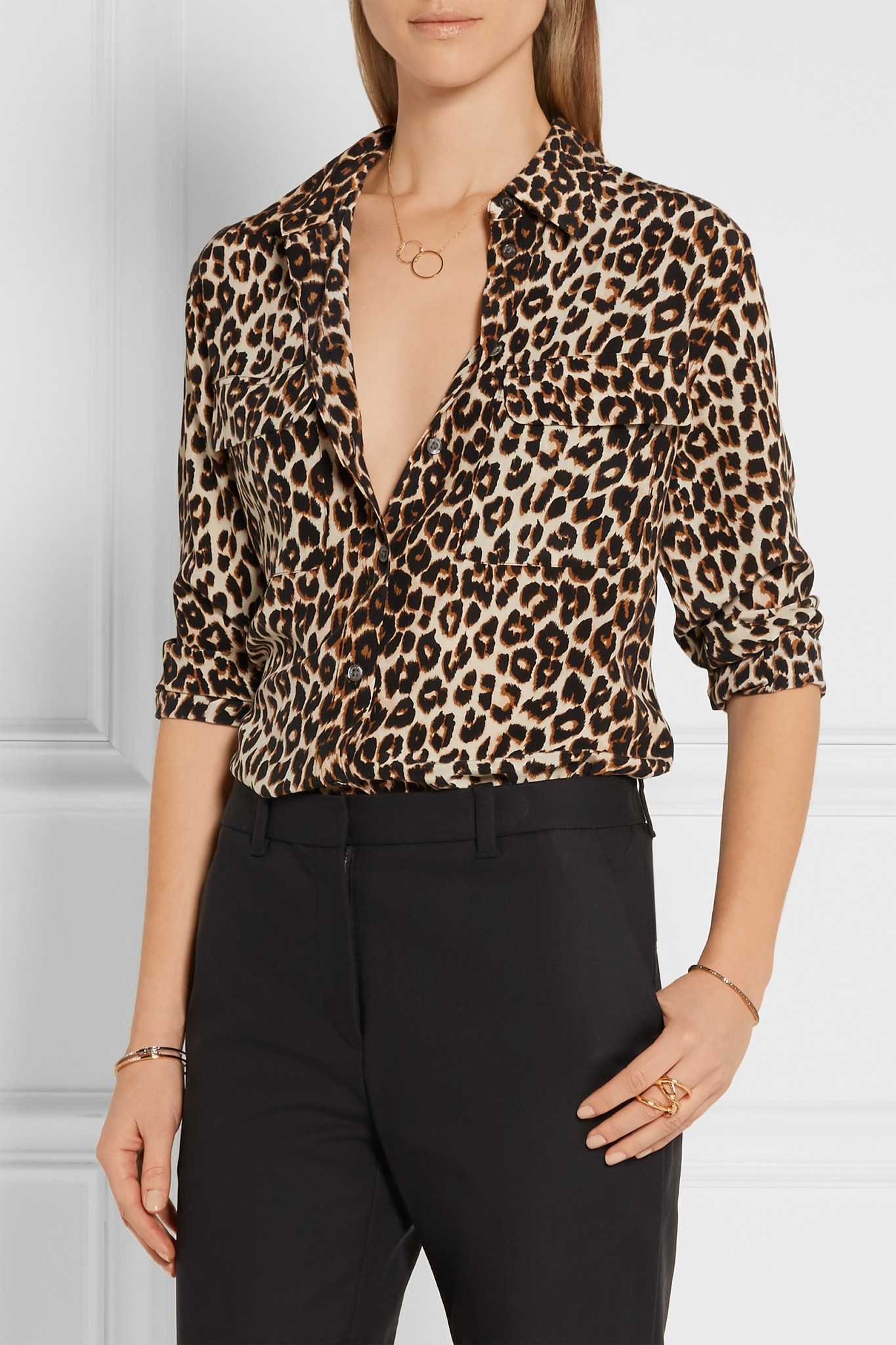 Lyst equipment signature leopard print washed silk shirt for Print a photo on at shirt
