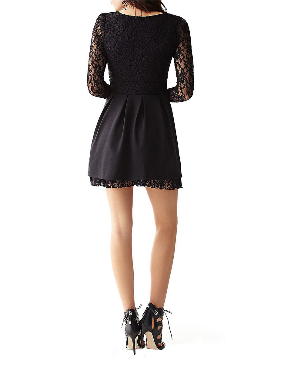 Guess Fit And Flare Lace Paneled Mini Dress In Black Lyst