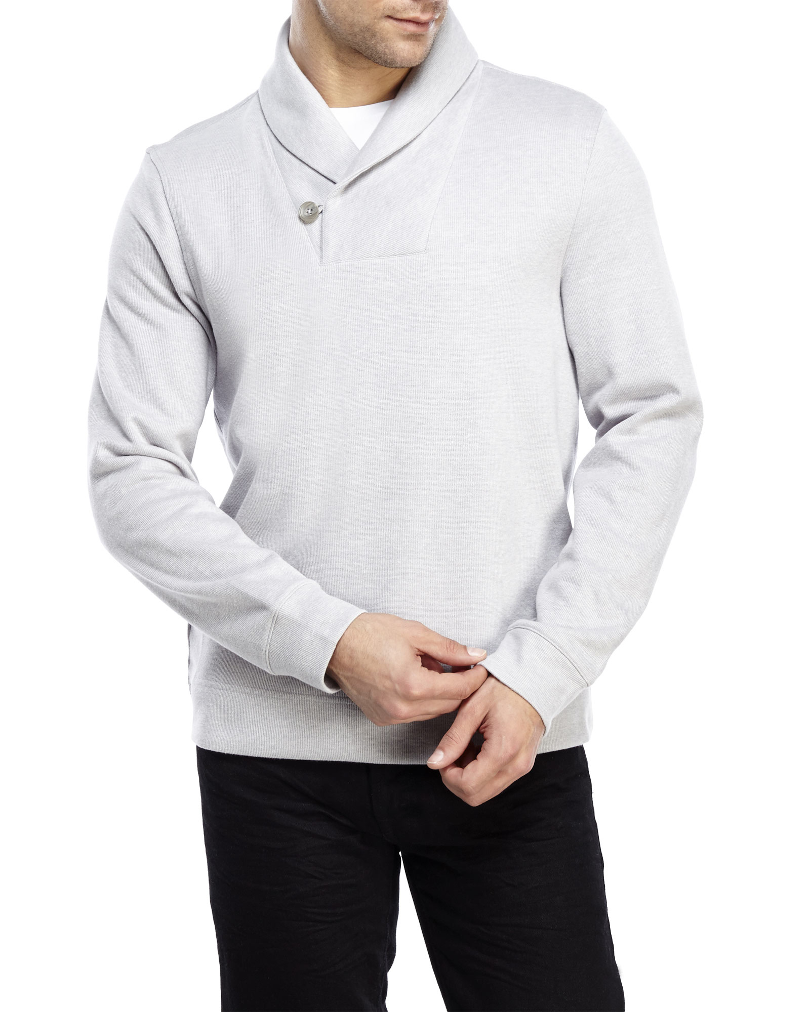 Perry ellis Shawl Collar Sweater in Gray for Men | Lyst