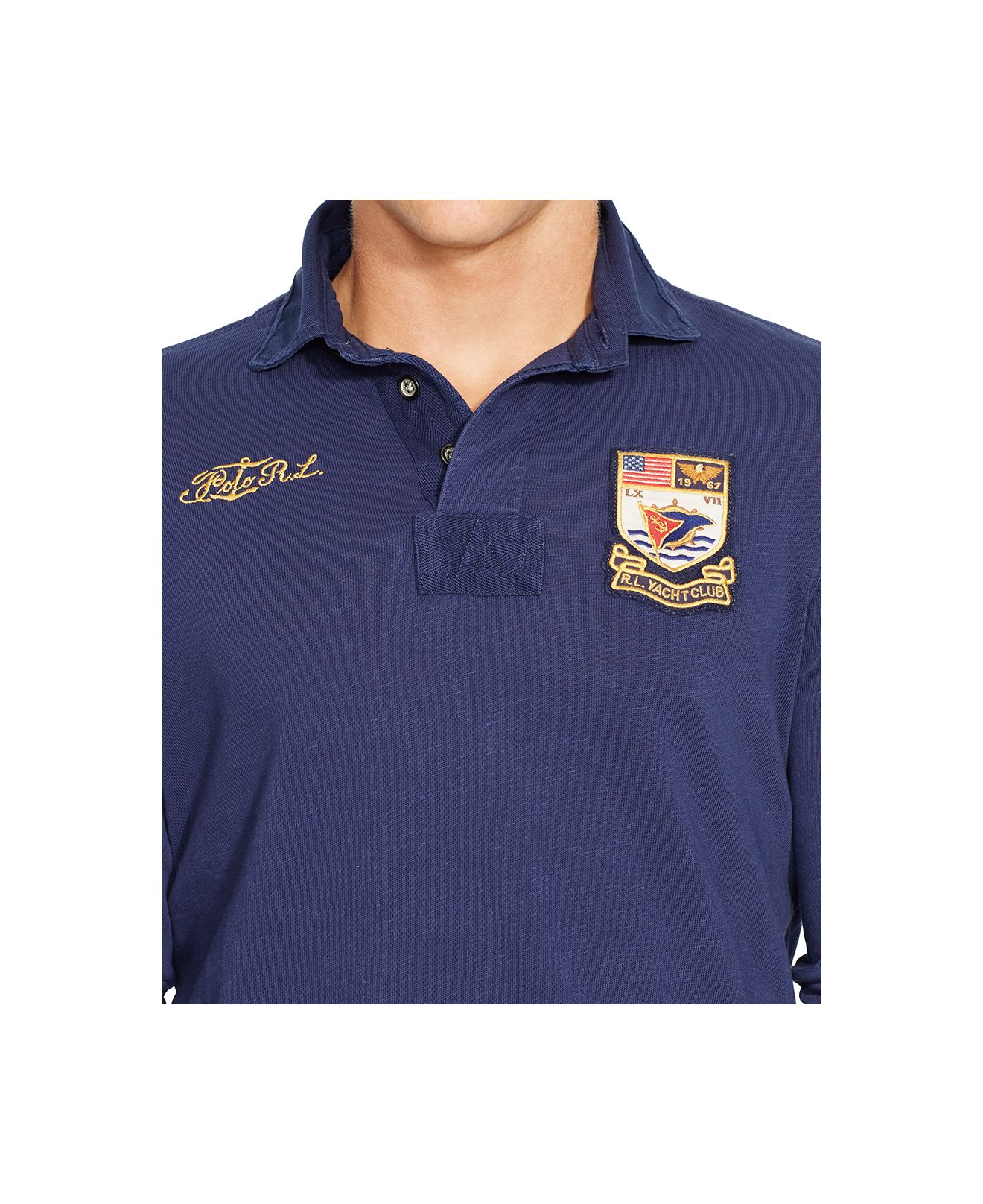 Polo ralph lauren yacht club jersey rugby shirt in blue for Ralph lauren polo club shirts