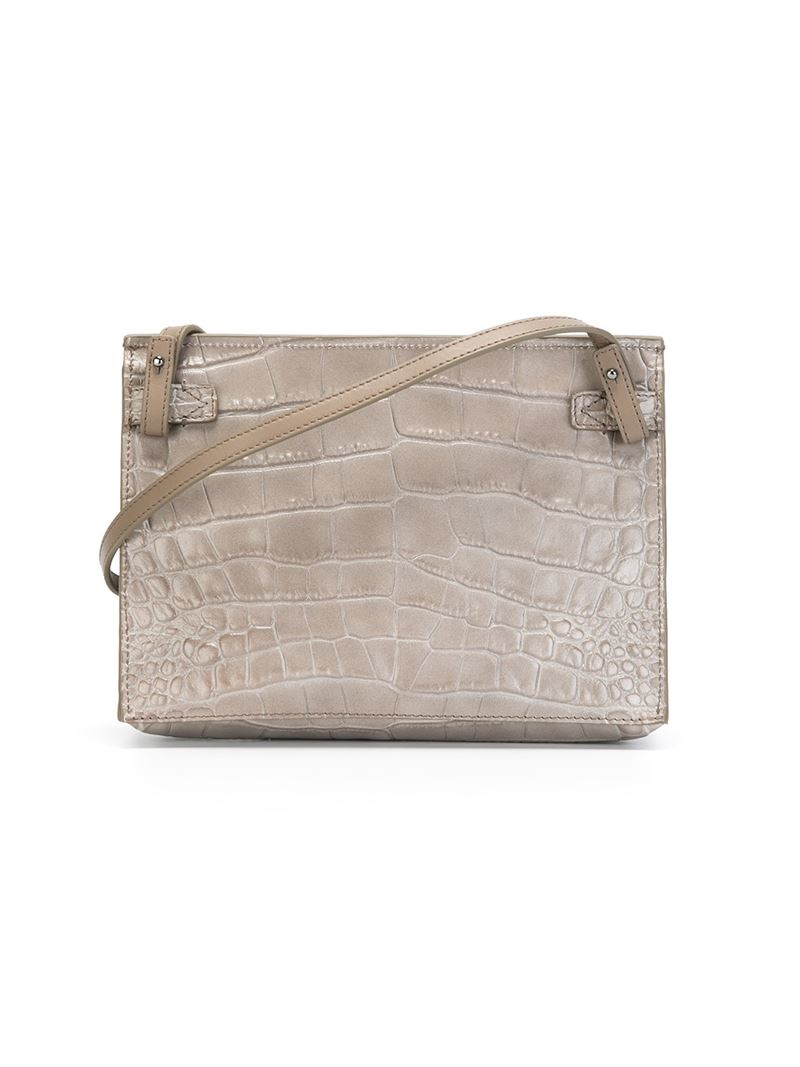 Vince Stamped Crocodile Cross Body Bag in Grey (Grey)