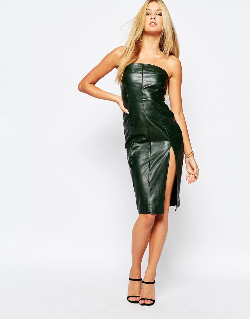 Missguided Strapless Leather Look Pencil Dress in Green  Lyst