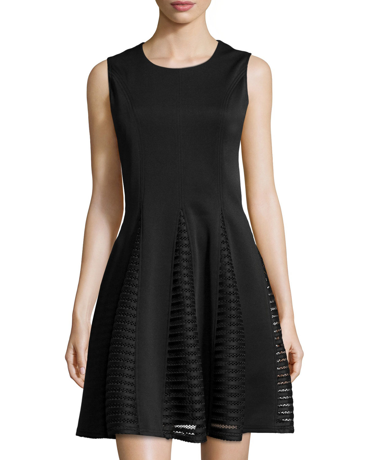 A Z I Sleeveless Lace Panel Fit And Flare Dress In Black