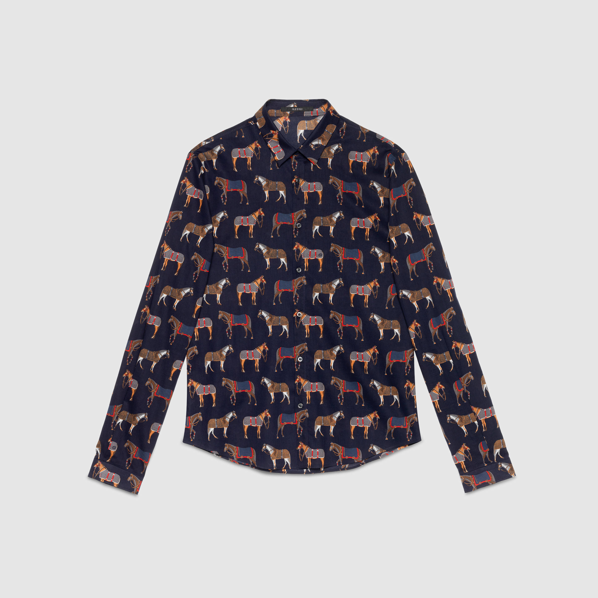 b52281e1c382 Gucci Horse Print Duke Shirt in Blue for Men - Lyst