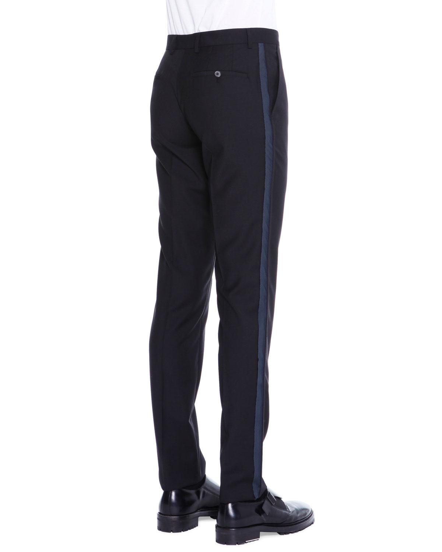 Lanvin Formal Side-stripe Wool Pants In Black For Men | Lyst