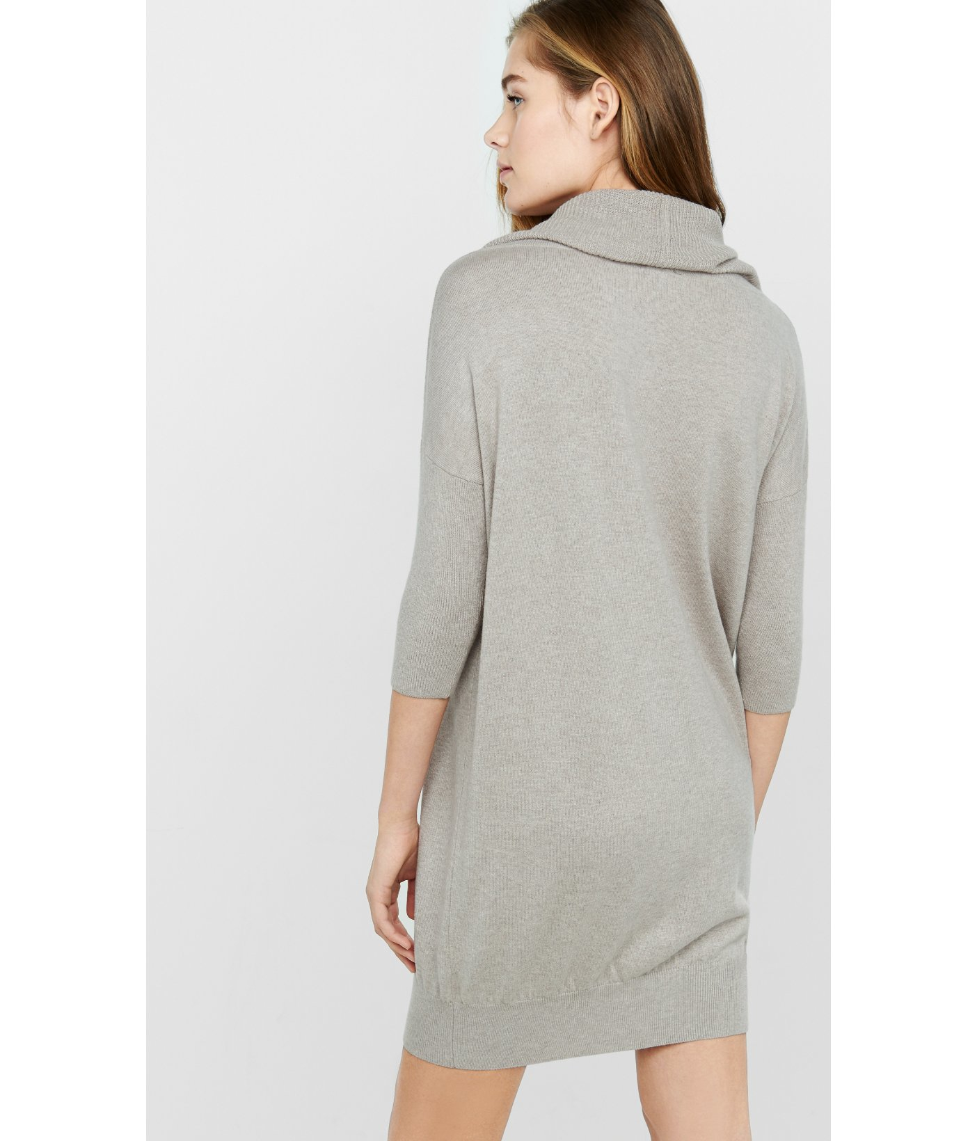 Express Banded Bottom Cowl Neck Sweater Dress in Gray | Lyst