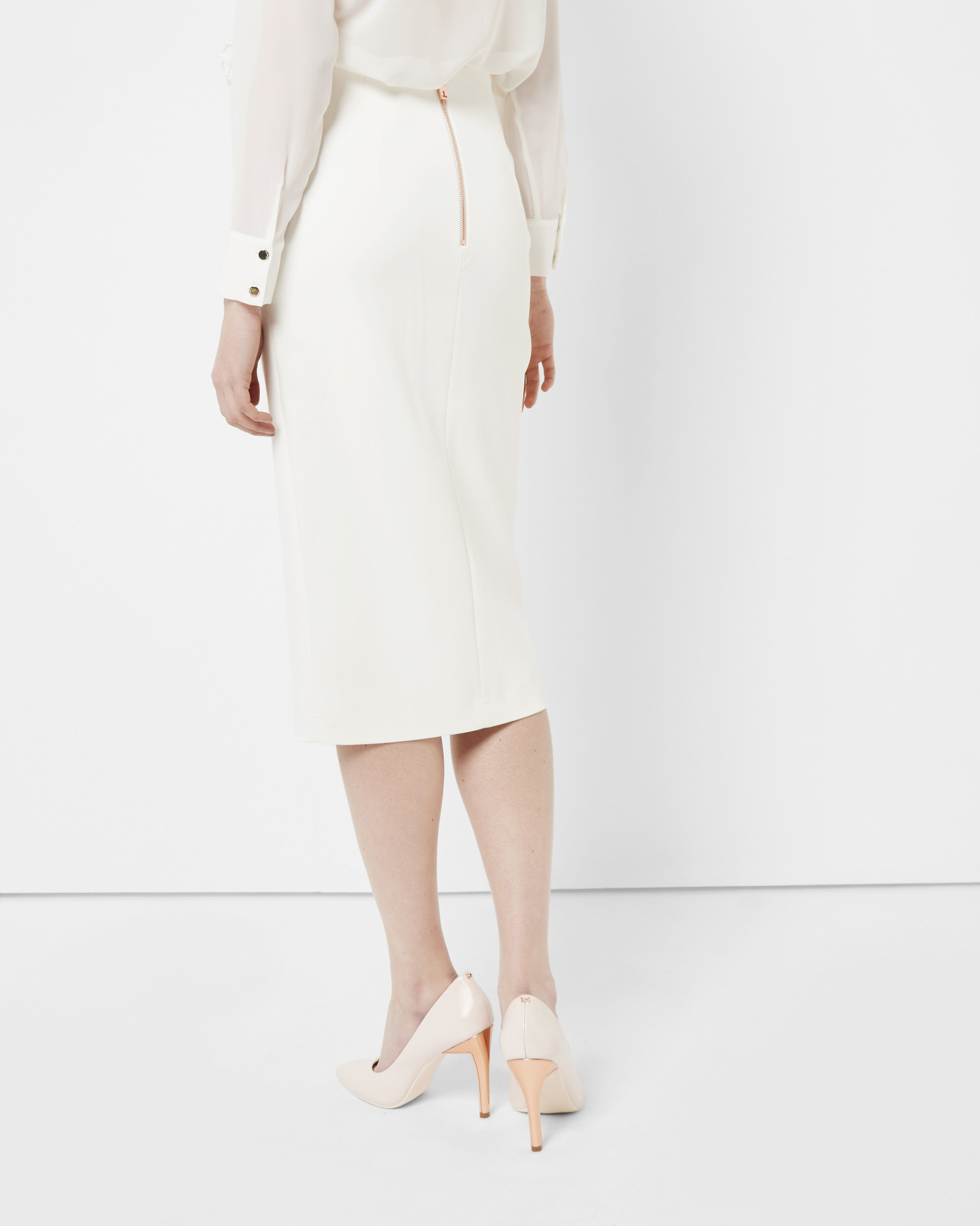 Ted baker High Waisted Pencil Skirt in White | Lyst
