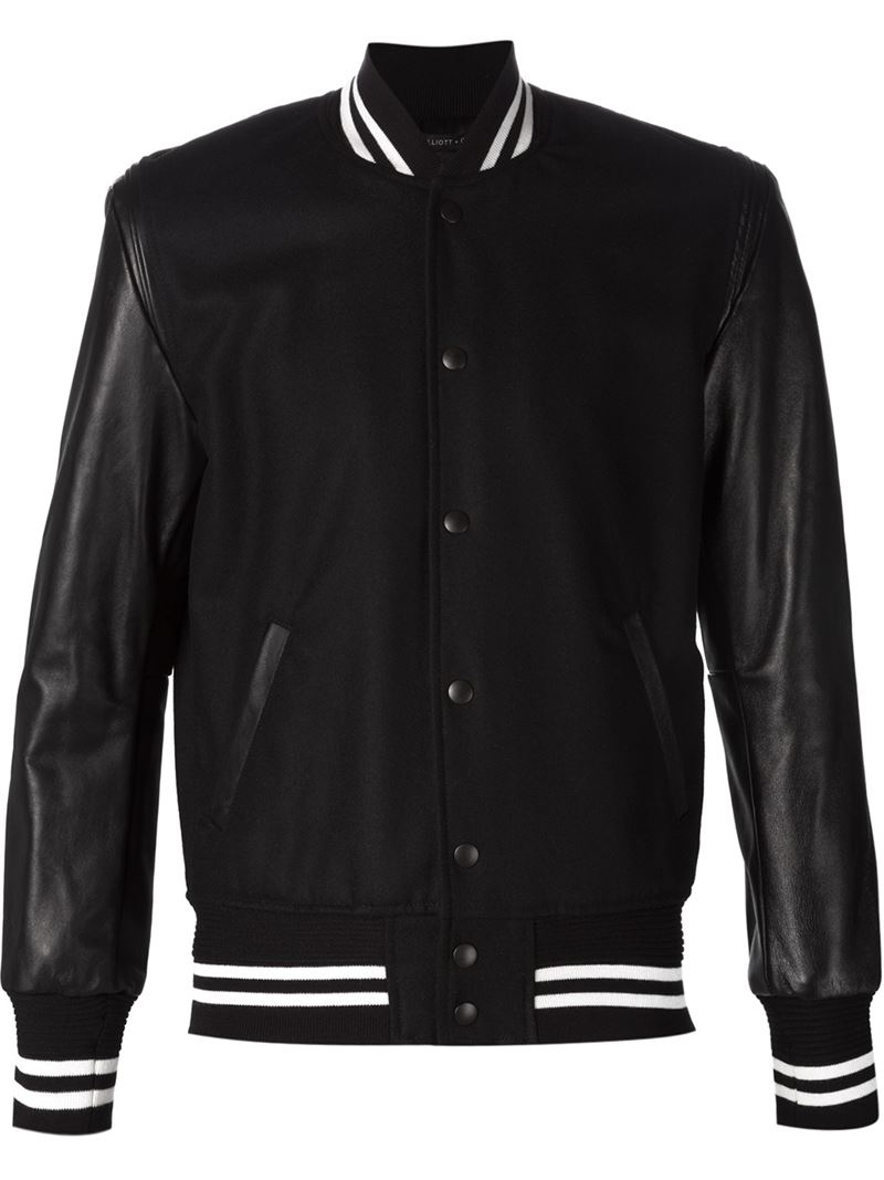 John elliott Leather Sleeves Bomber Jacket in Black for Men | Lyst
