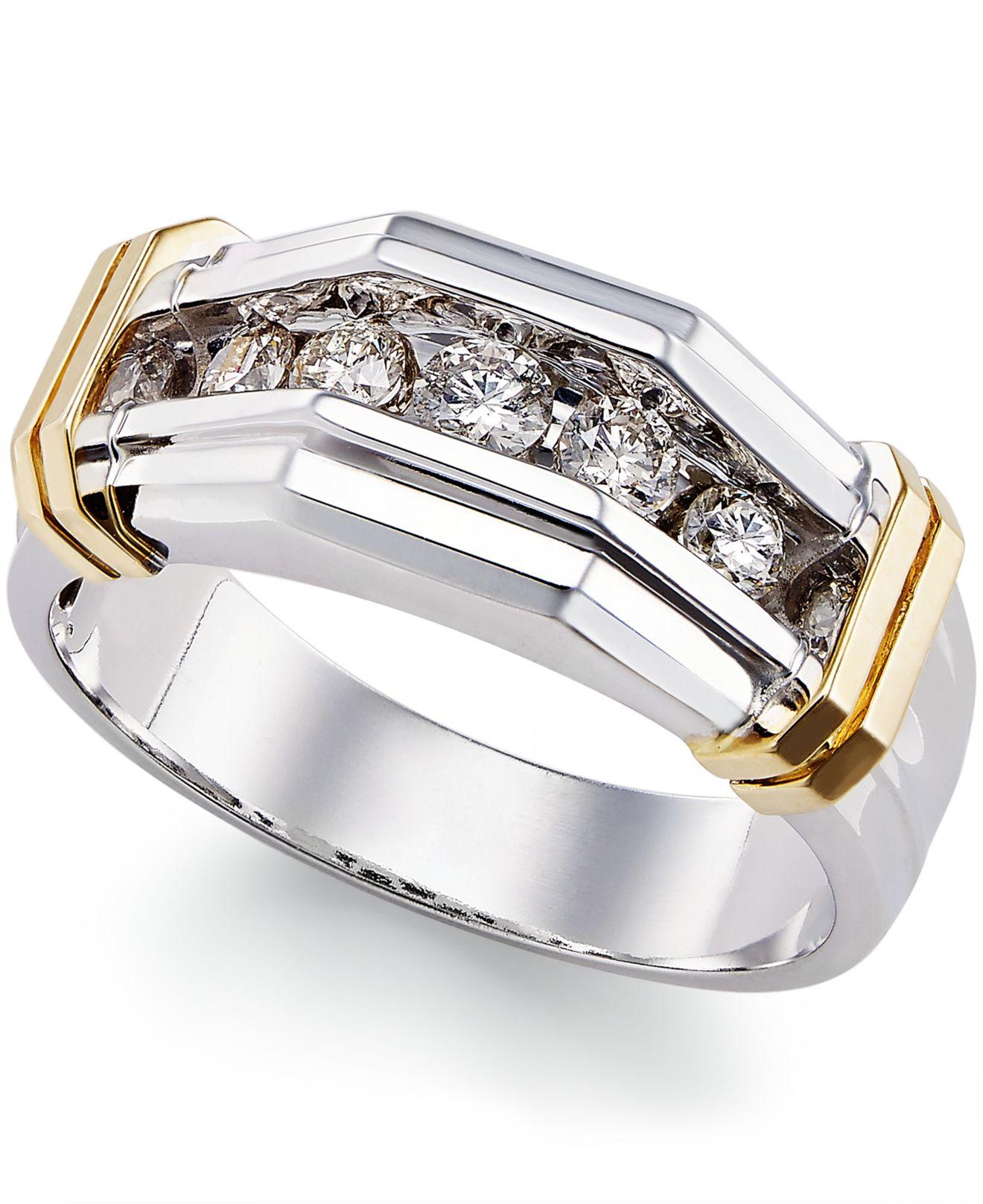 Macy S Men S Diamond 1 2 Ct T W Ring In 10k White Gold