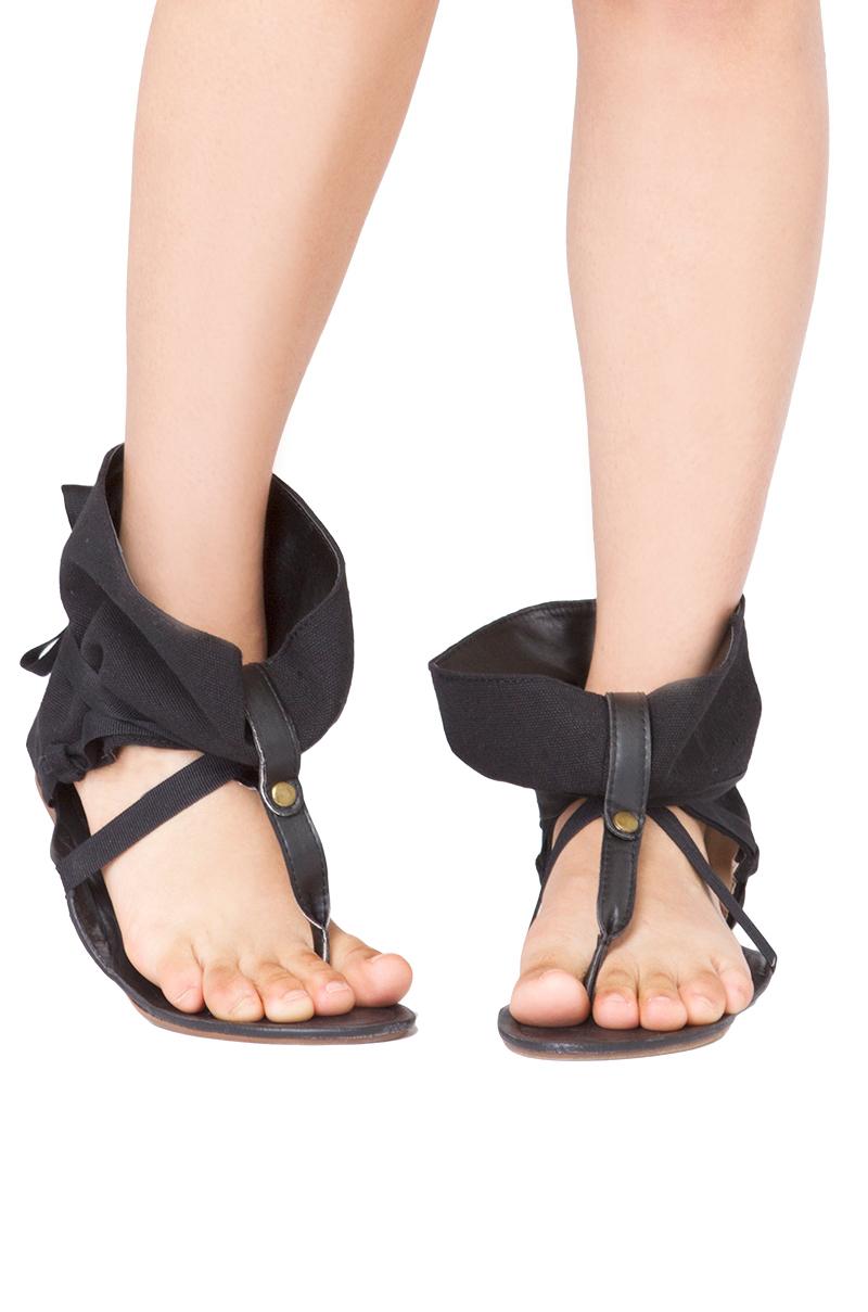 328dd81039df64 Akira Black Label Ankle Wrap Flat Thong Sandals in Black - Lyst
