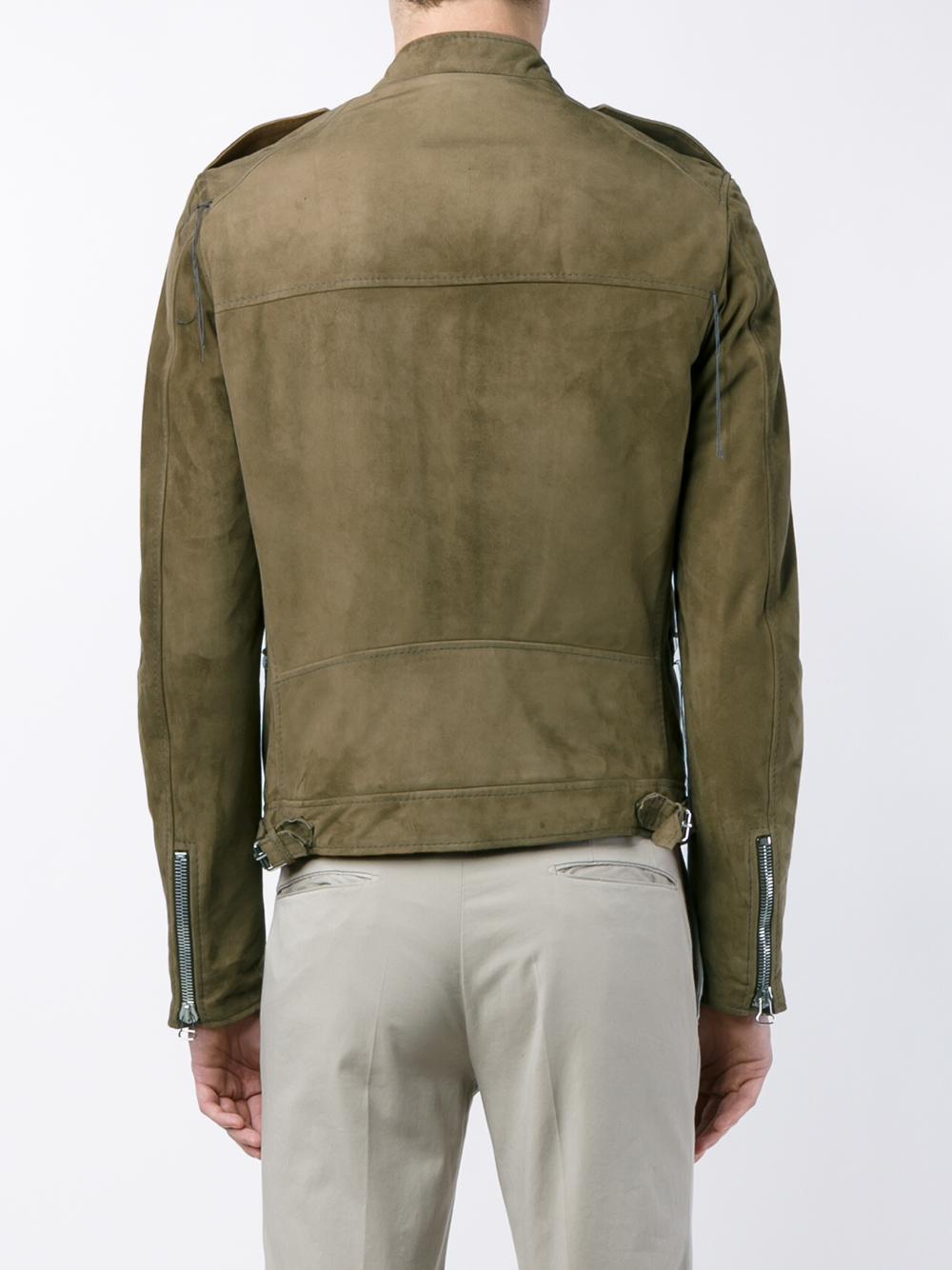 Lanvin Suede Jacket in Tan (Green) for Men