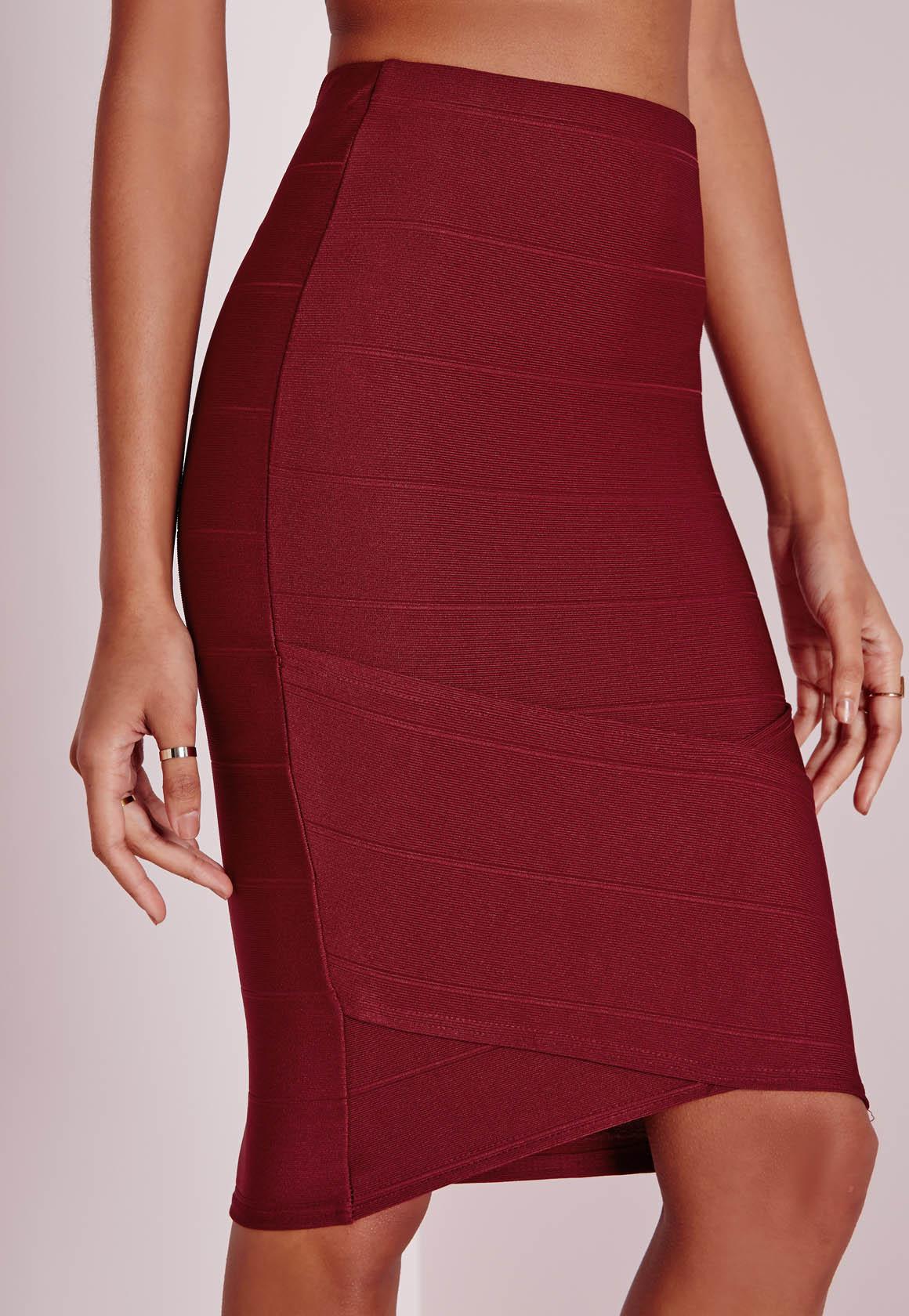 missguided bandage asymmetric hem midi skirt burgundy in