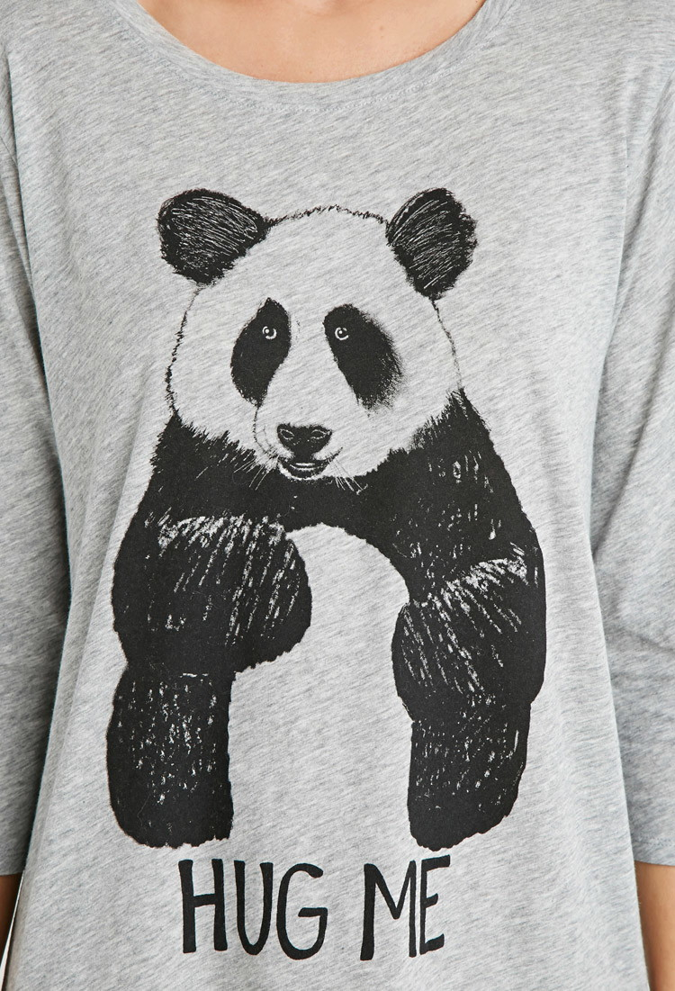 cfbba65ae7 Forever 21 Panda Graphic Nightdress in Gray - Lyst