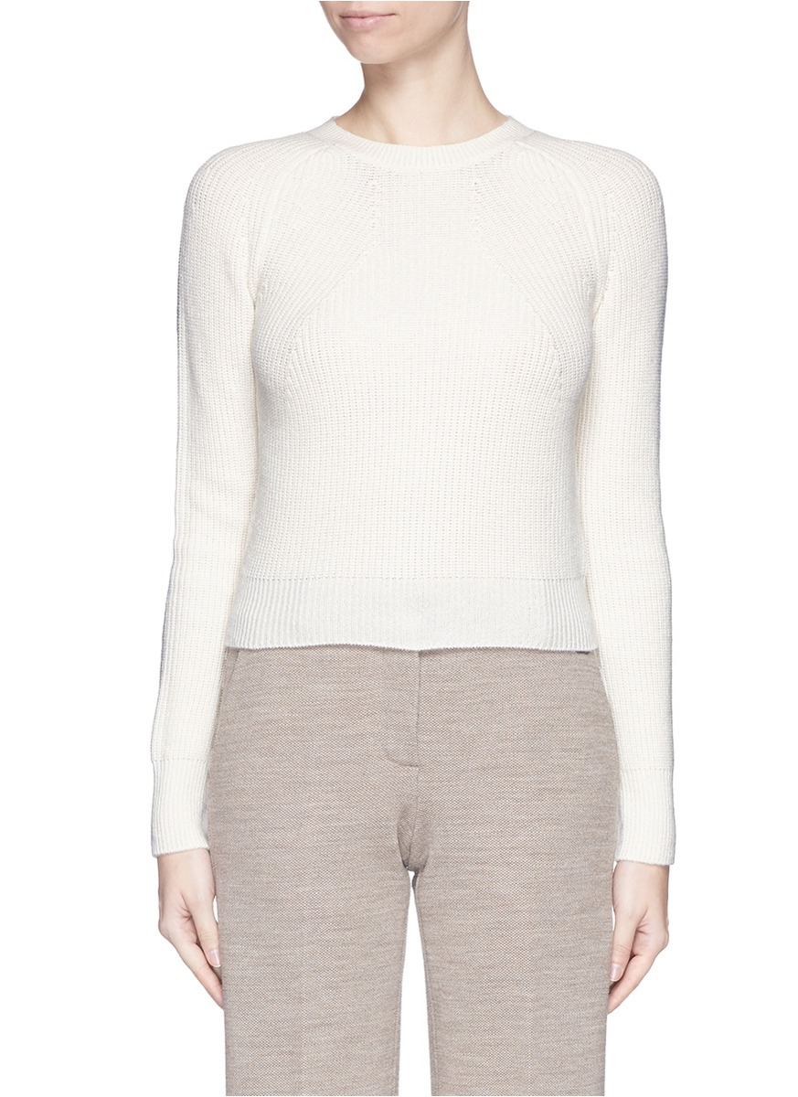 Helmut lang Cashmere-wool Cropped Sweater in White | Lyst