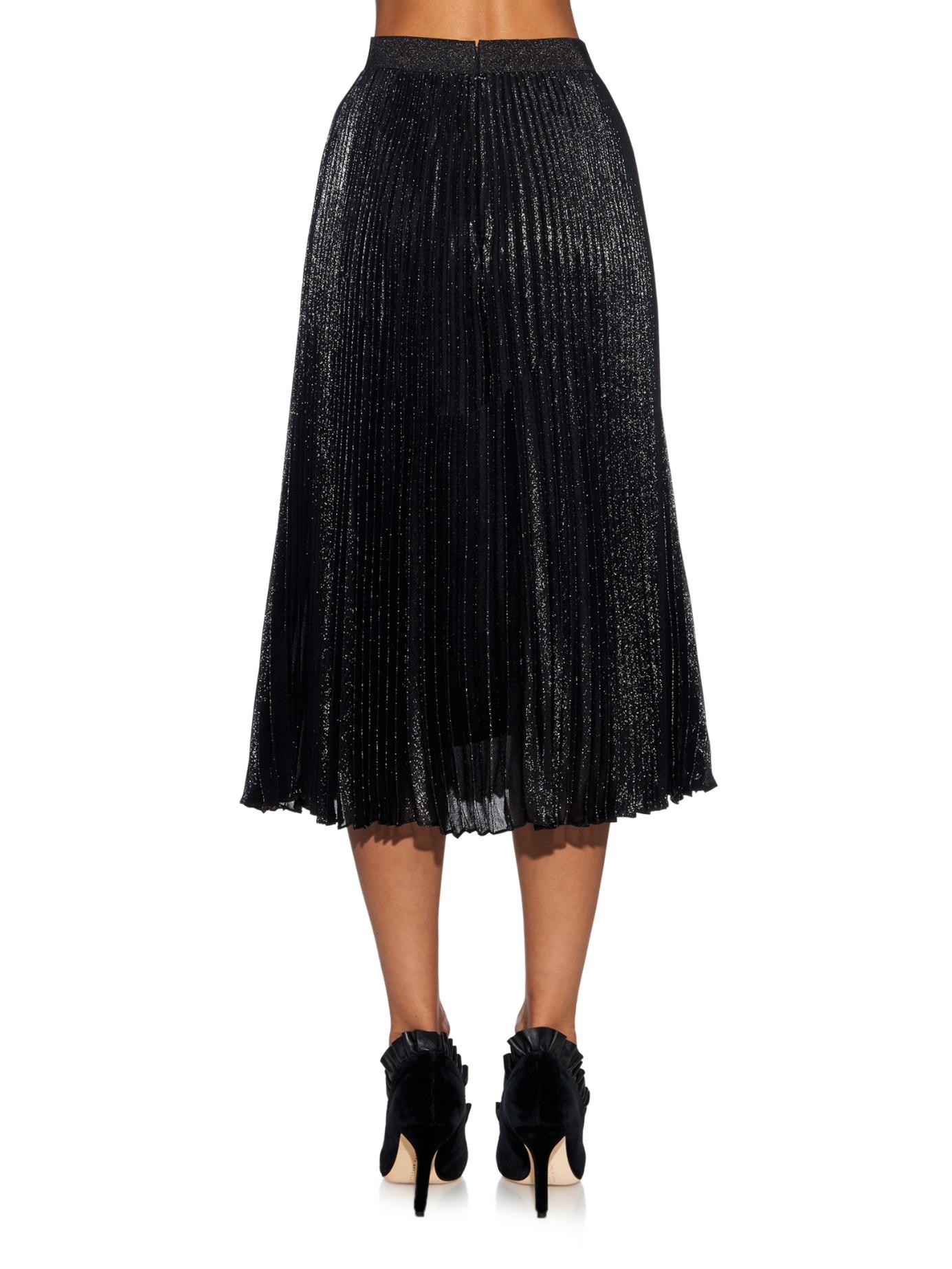 christopher metallic pleated midi skirt in black lyst