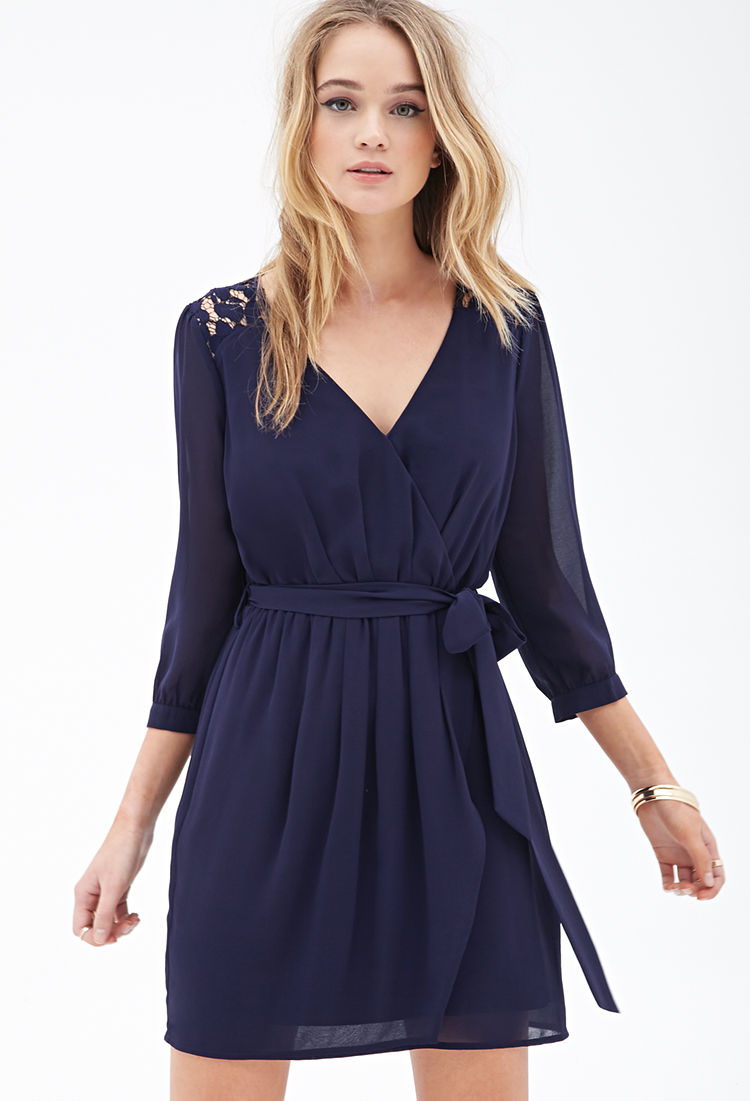 Forever 21 Chiffon Amp Lace Surplice Dress In Blue Navy Lyst