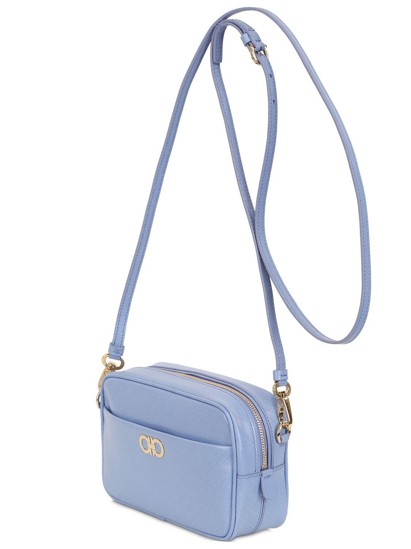 Ferragamo Saffiano Leather Shoulder Bag in Blue