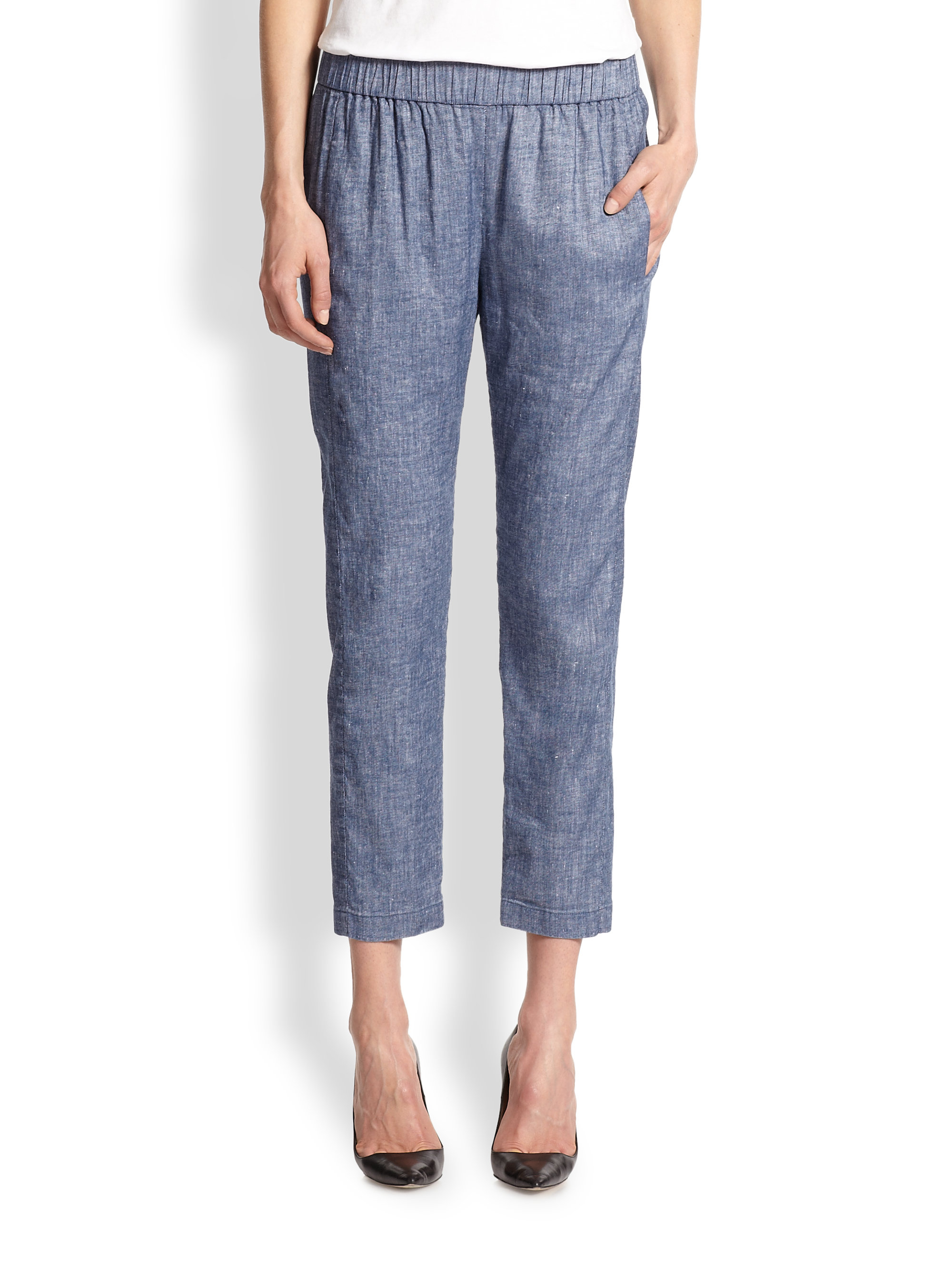 Theory tierra cropped chambray pants in blue denim lyst for Chambray jeans