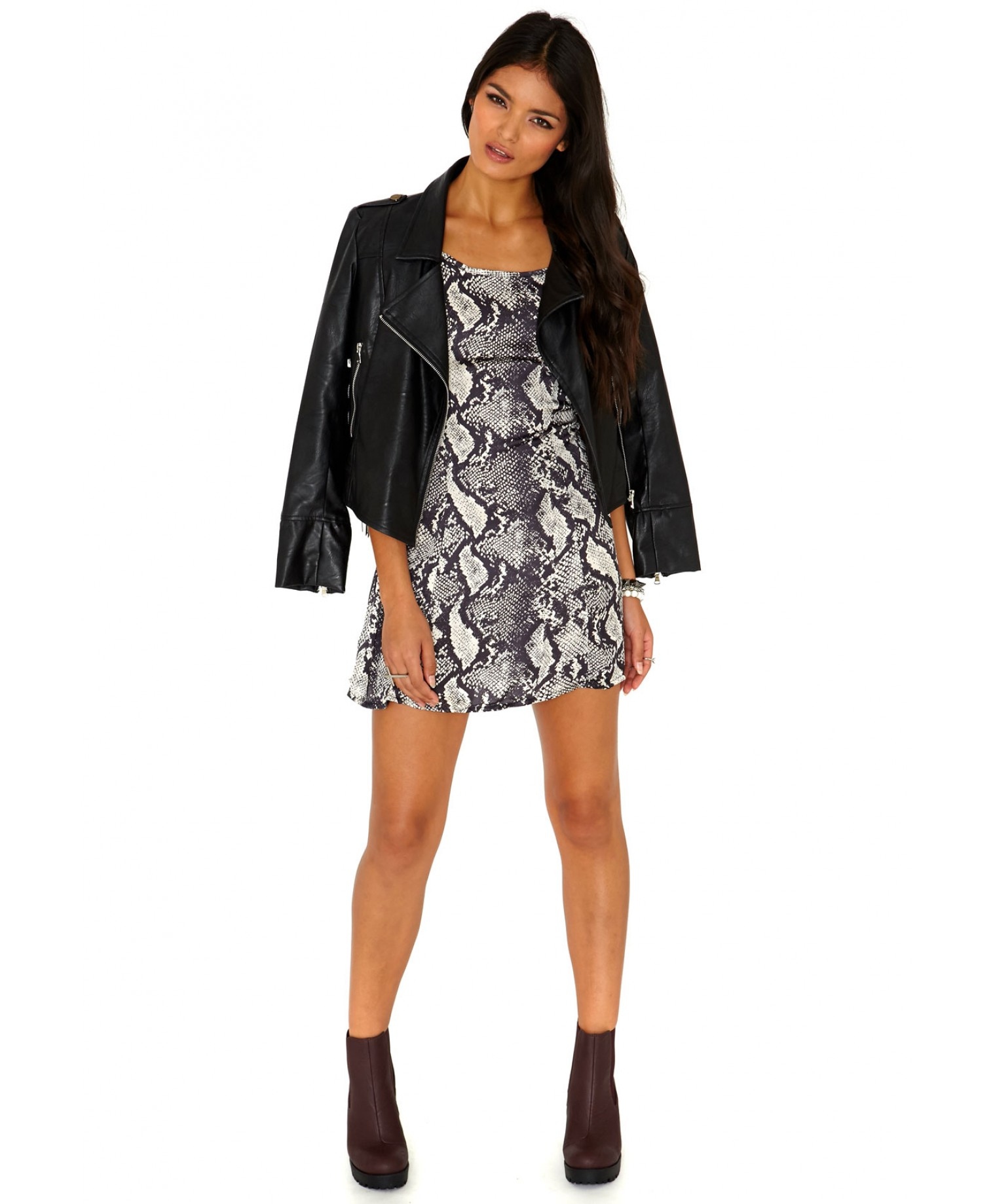 Missguided Kamia Strappy Snake Print Swing Dress