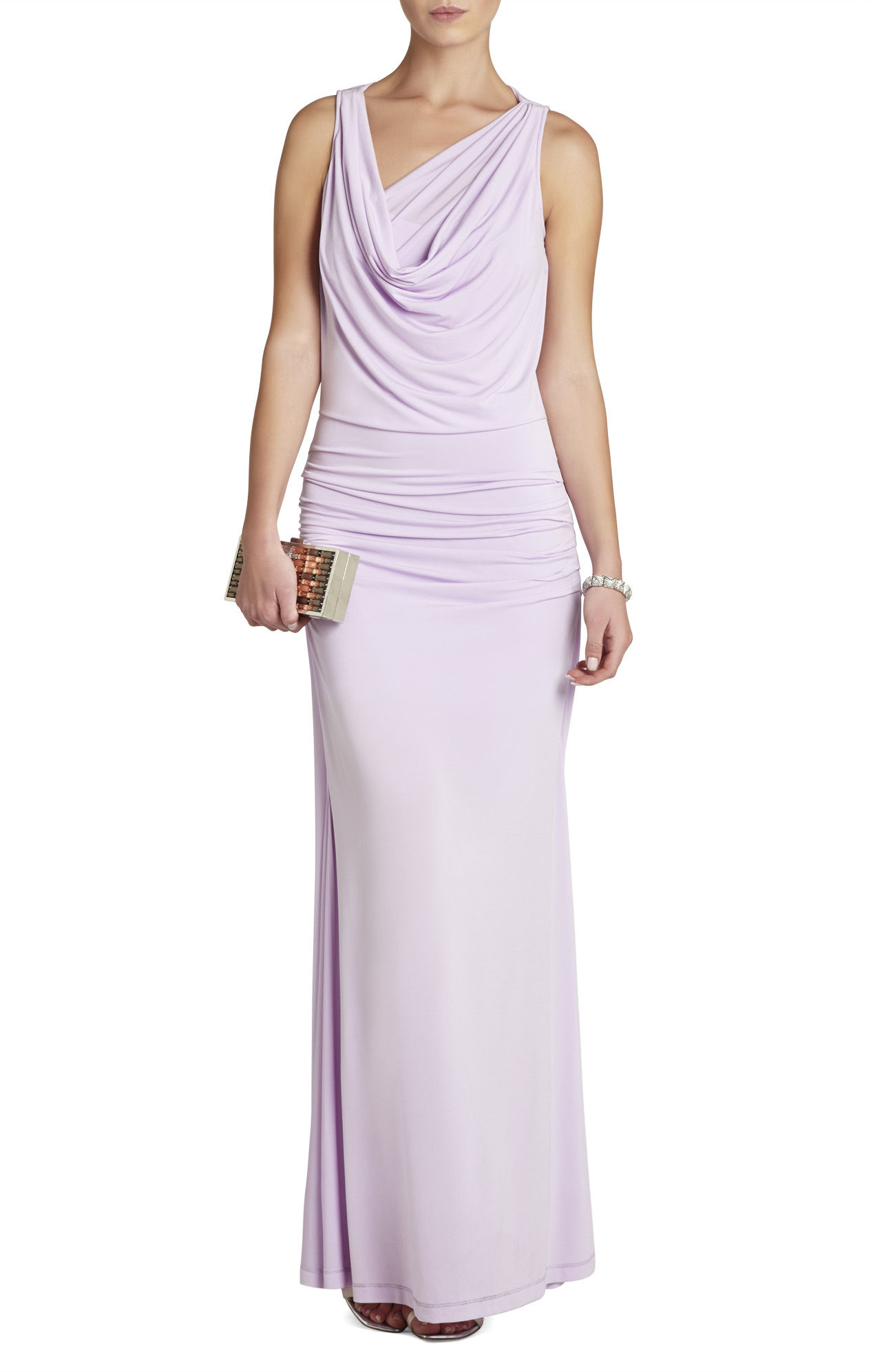 Lyst bcbgmaxazria nicole draped neck floor length dress for Floor length dress