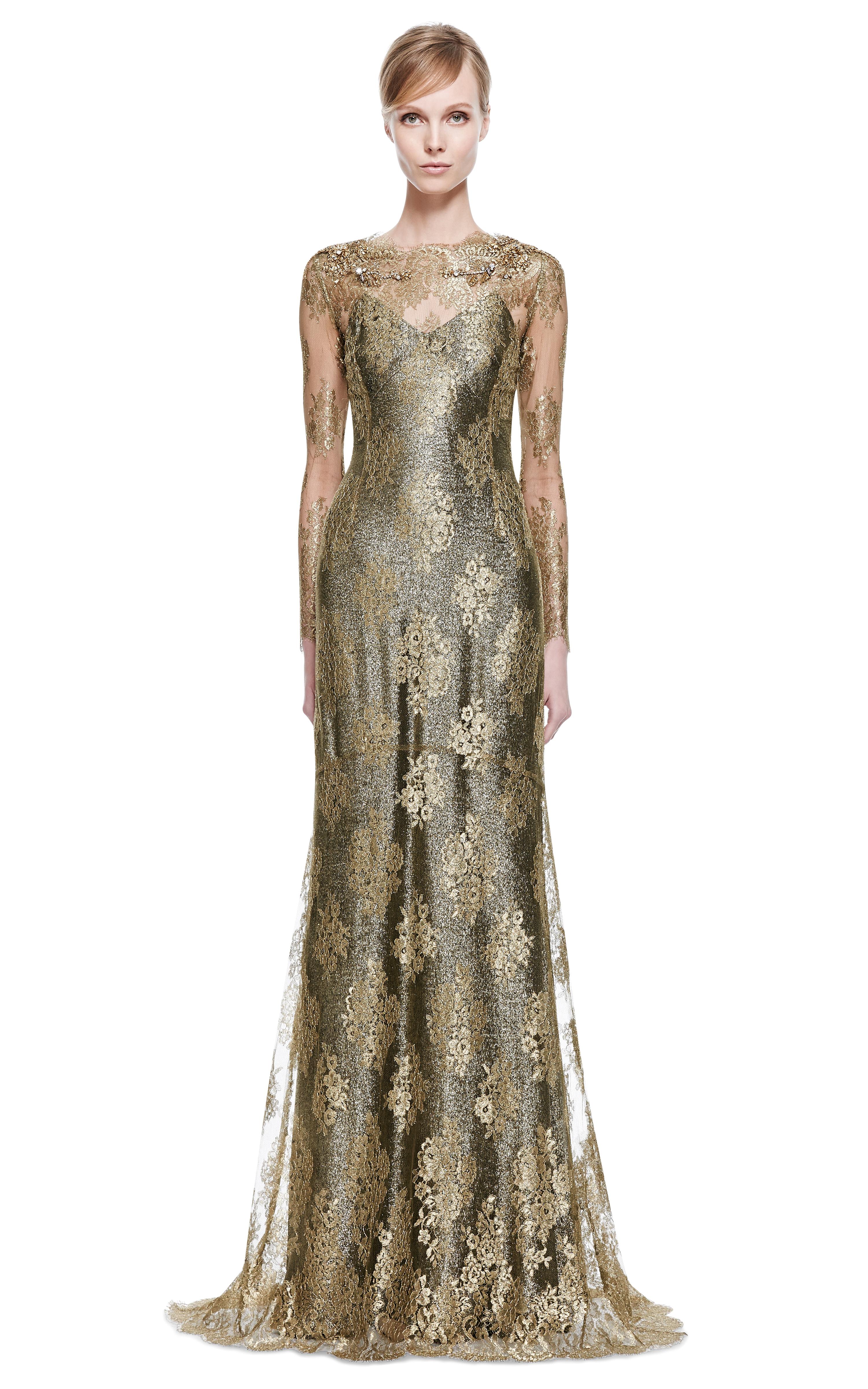 Lyst - Marchesa Gold Metallic Lace Column Gown in Metallic