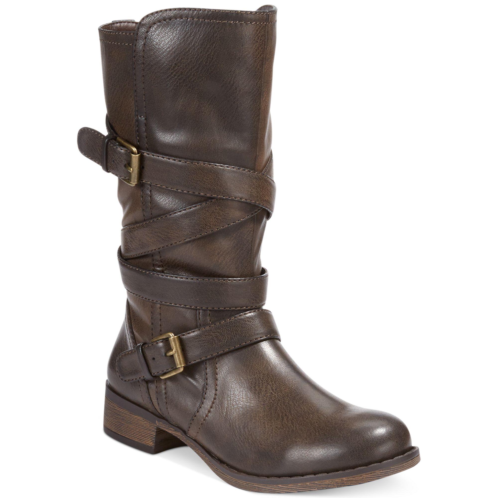 report jesslyn buckle boots in brown lyst
