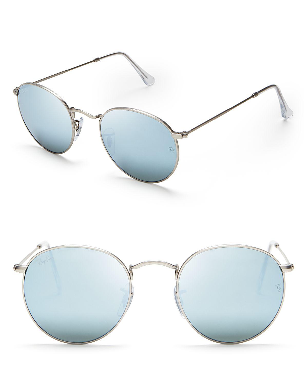 Ray ban round mirror sunglasses in blue matte silver blue for Mirror sunglasses
