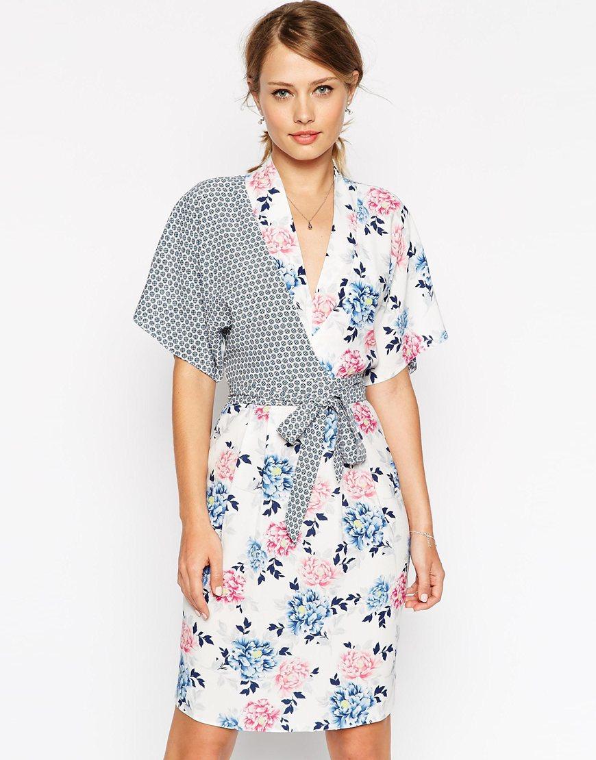 Asos Kimono Wrap Dress In Mixed Print Lyst