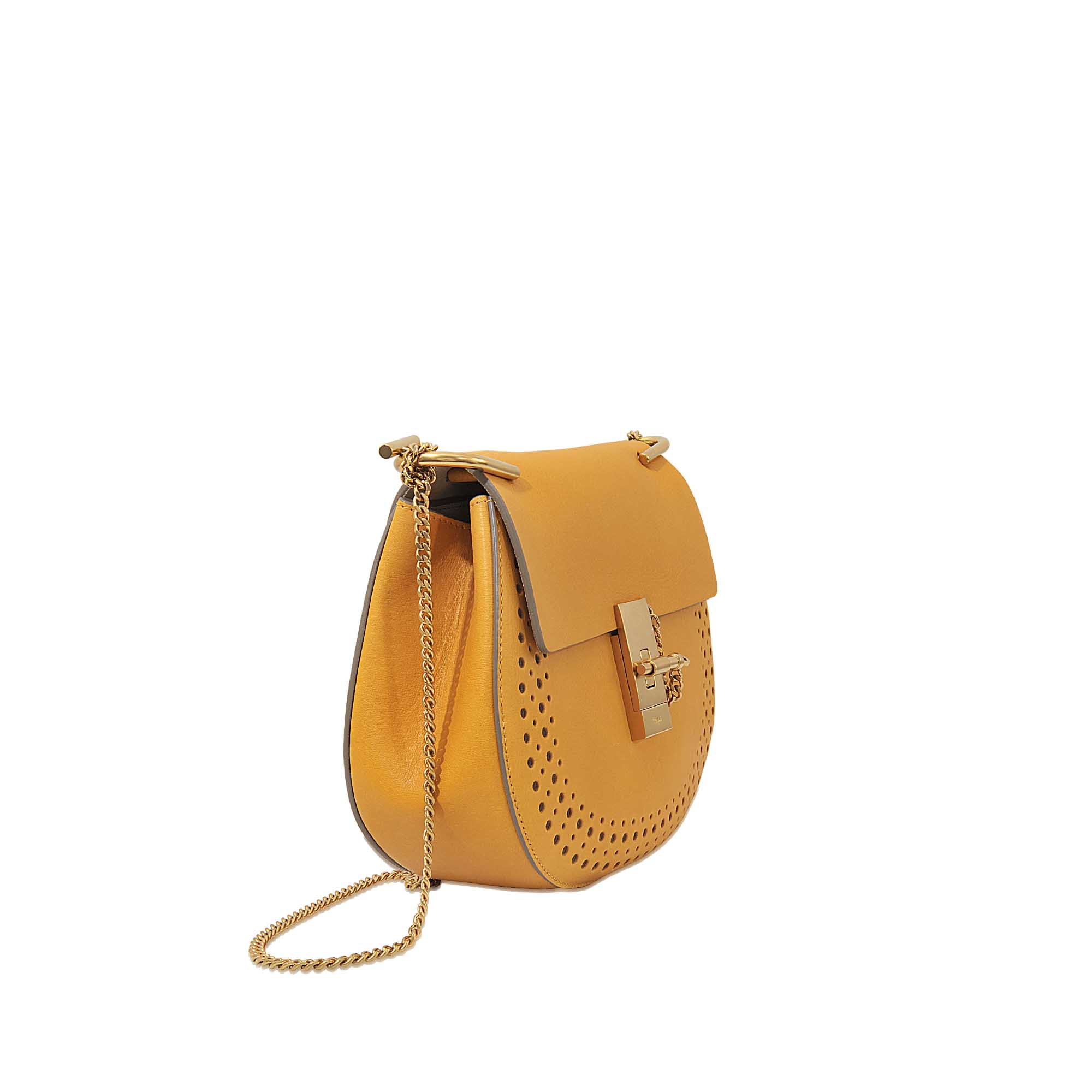 chloe handbags shop online - Chlo�� Drew Perforated Small Saddle Bag in Yellow | Lyst