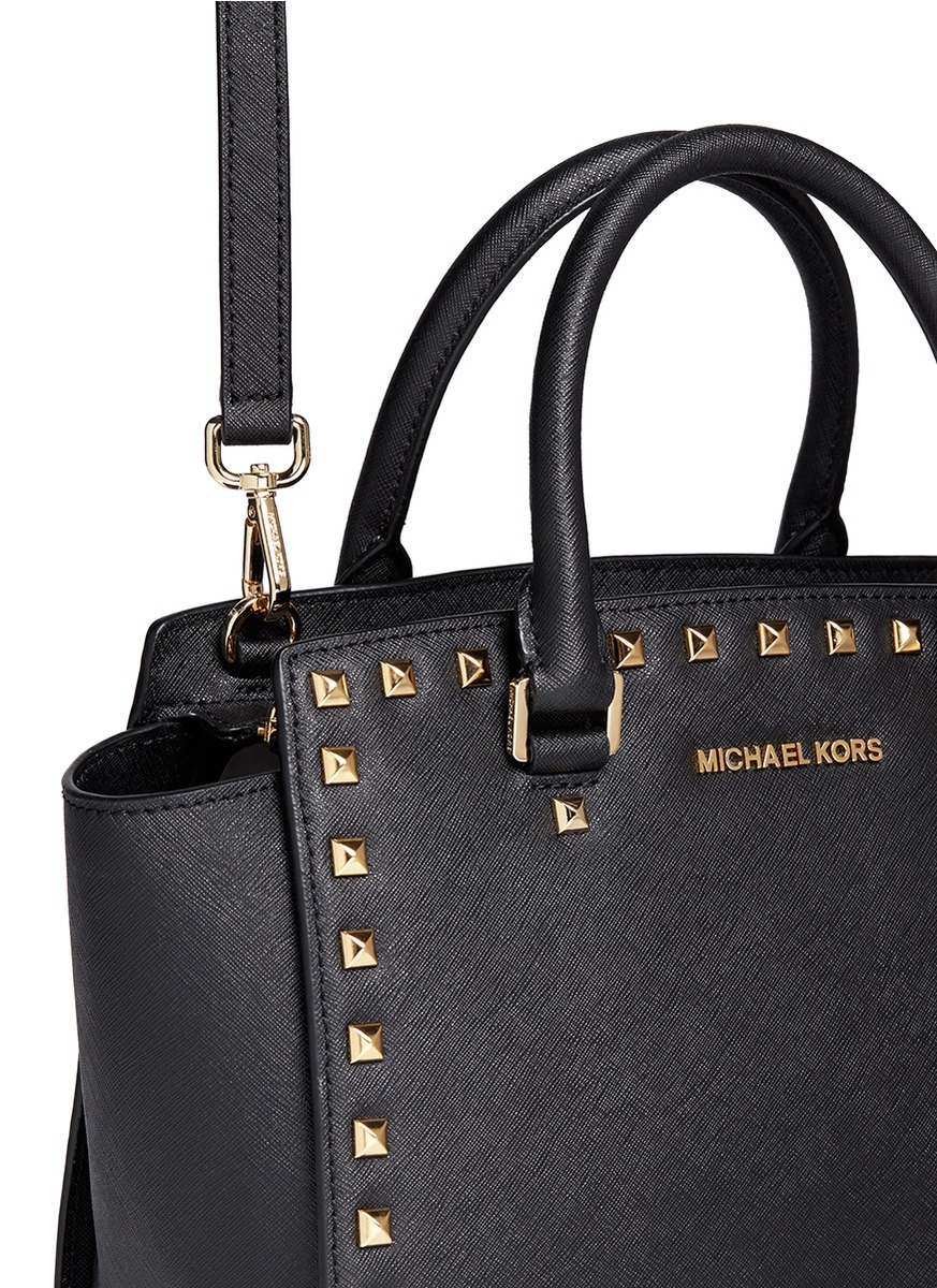 4b38010bc646 ireland michael kors selma studded saffiano leather satchel in black lyst  05bf1 63ea8