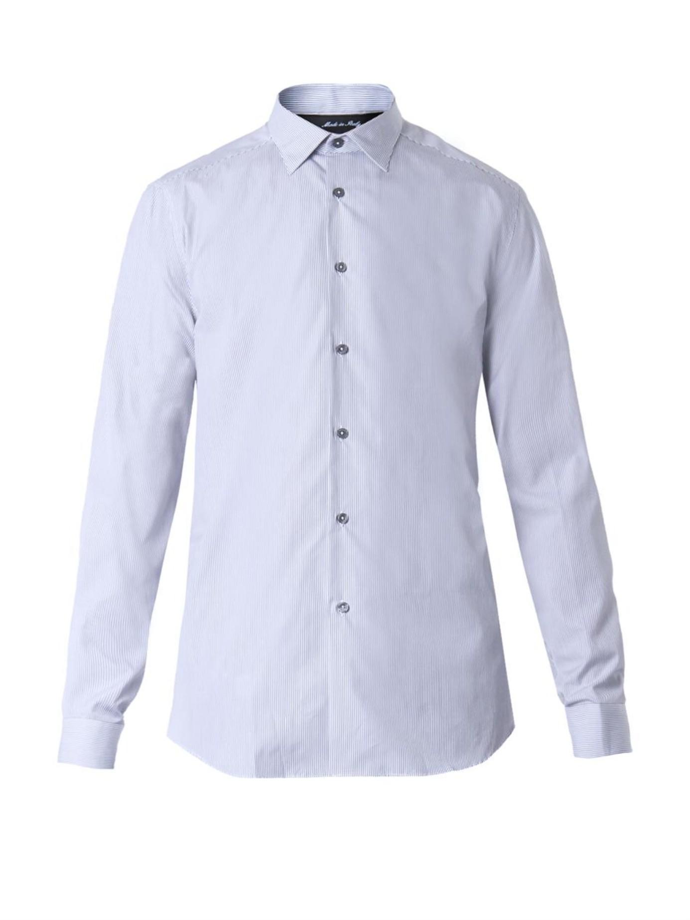 Paul Smith Byard Pinstripe Cotton Shirt In Blue For Men