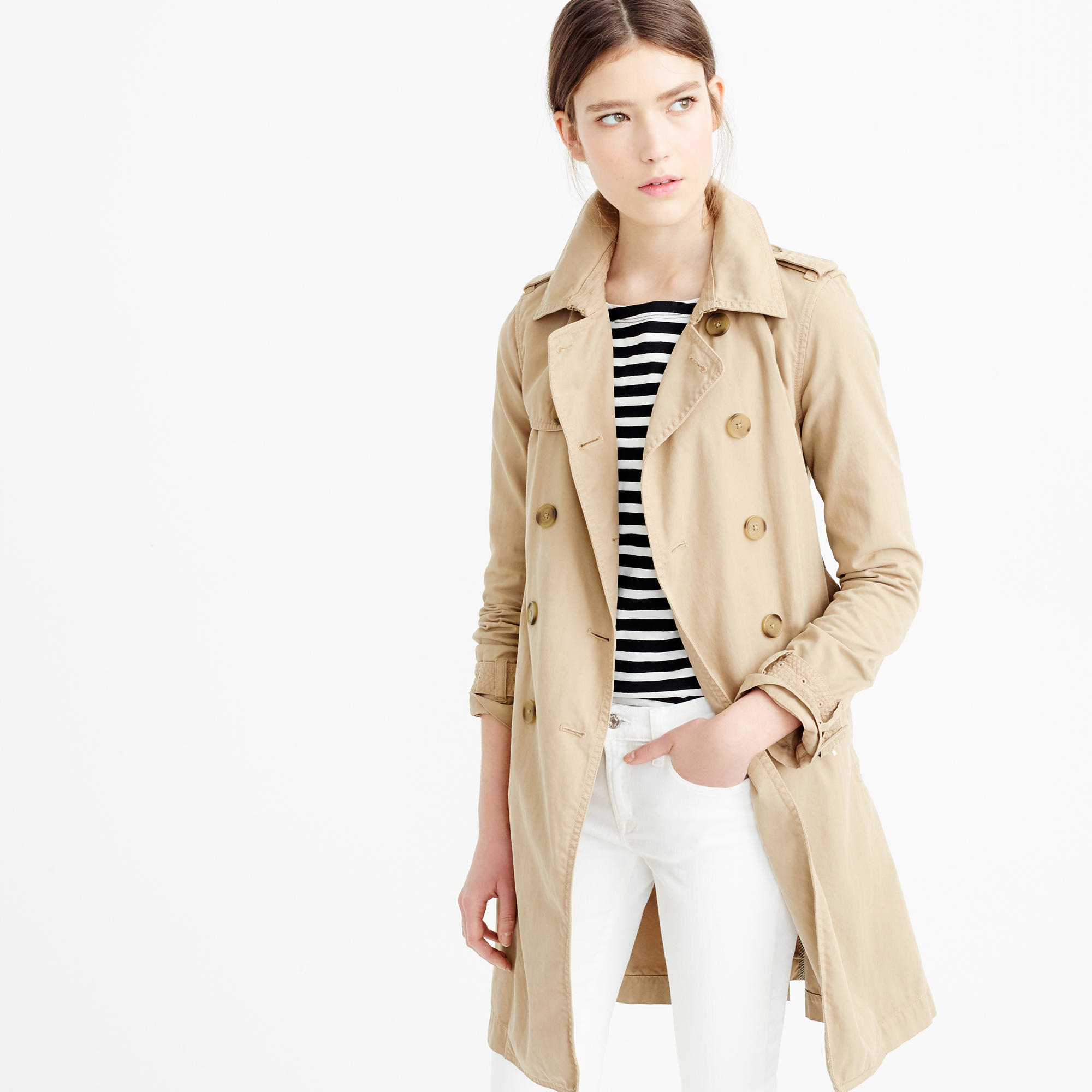 J.crew Petite Washed Cotton Trench Coat in Brown | Lyst