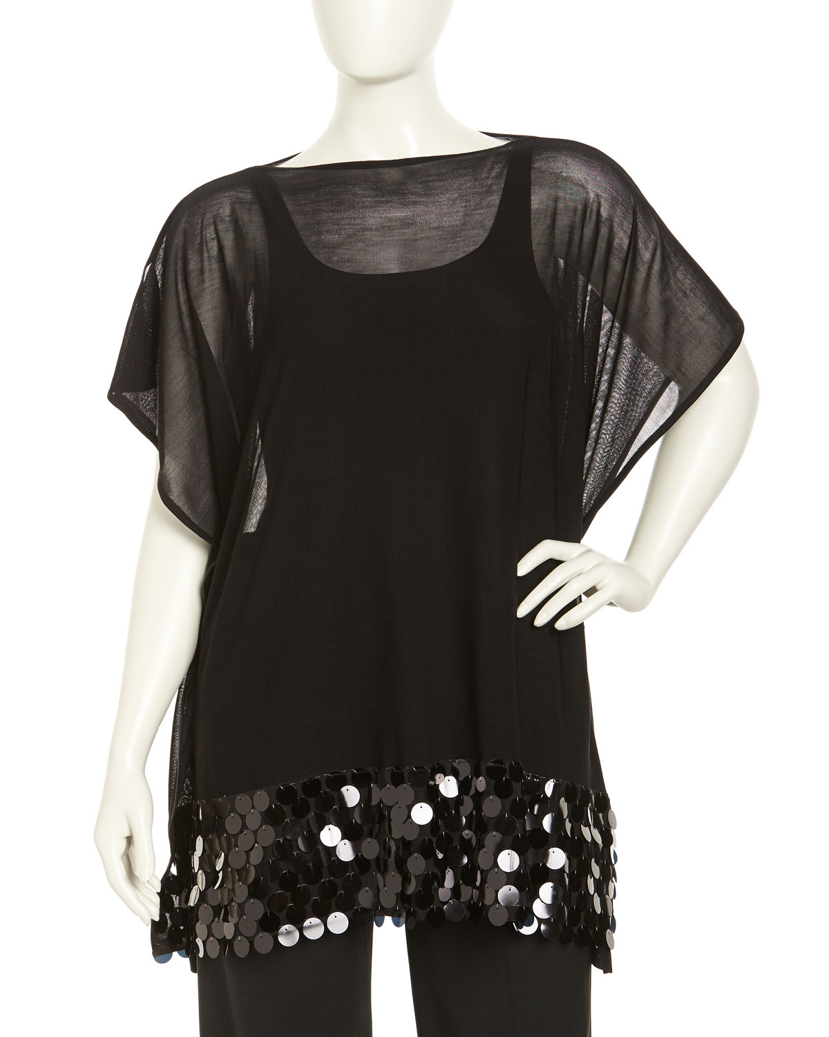 Misook Sequin Embellished Mesh Tunic Black Womens in Black ...