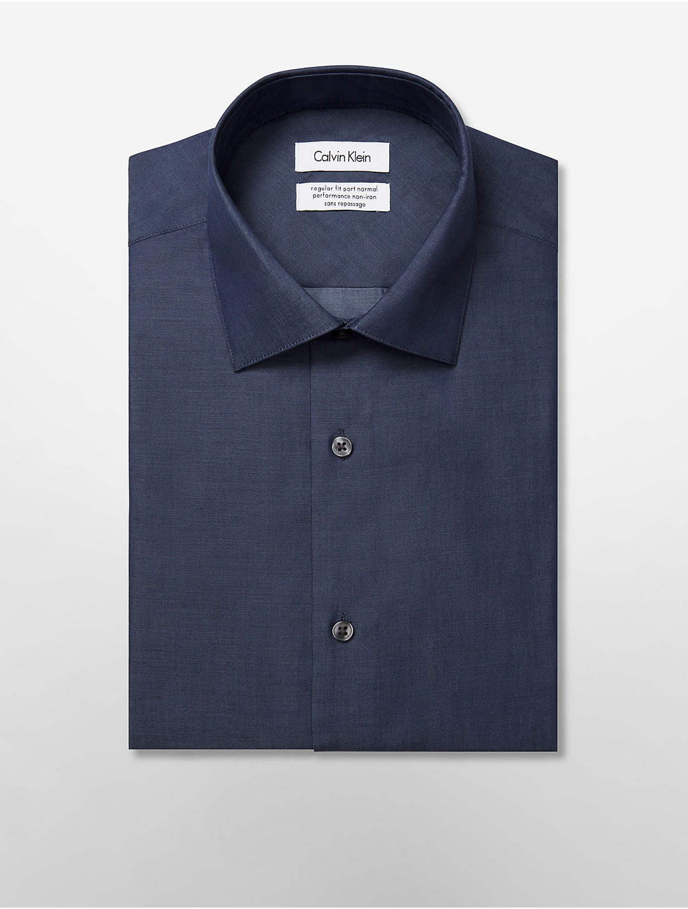 Calvin klein steel regular fit non iron chambray dress for Regular fit dress shirt