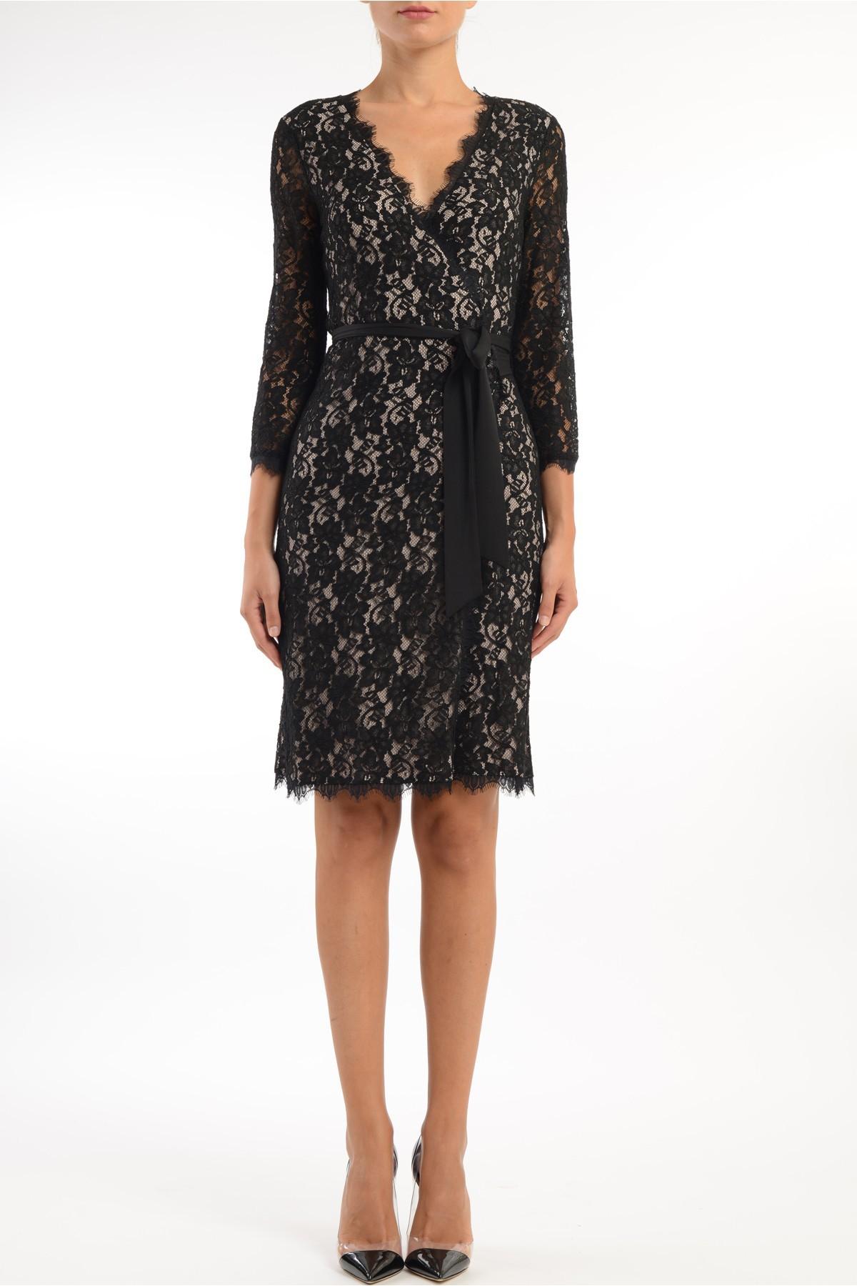 diane furstenberg lace dress with fabric belt in black