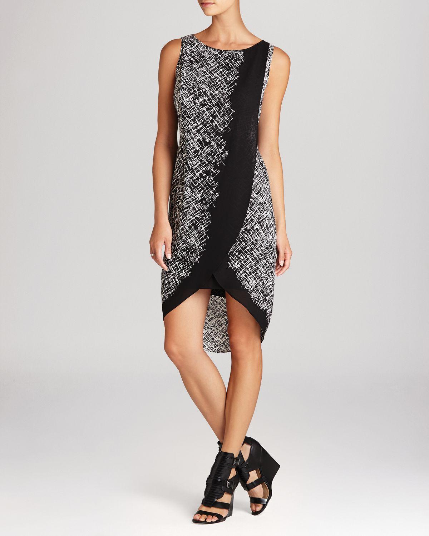 Lyst - Bcbgmaxazria Dress - Audra Printed Asymmetric Wrap ...