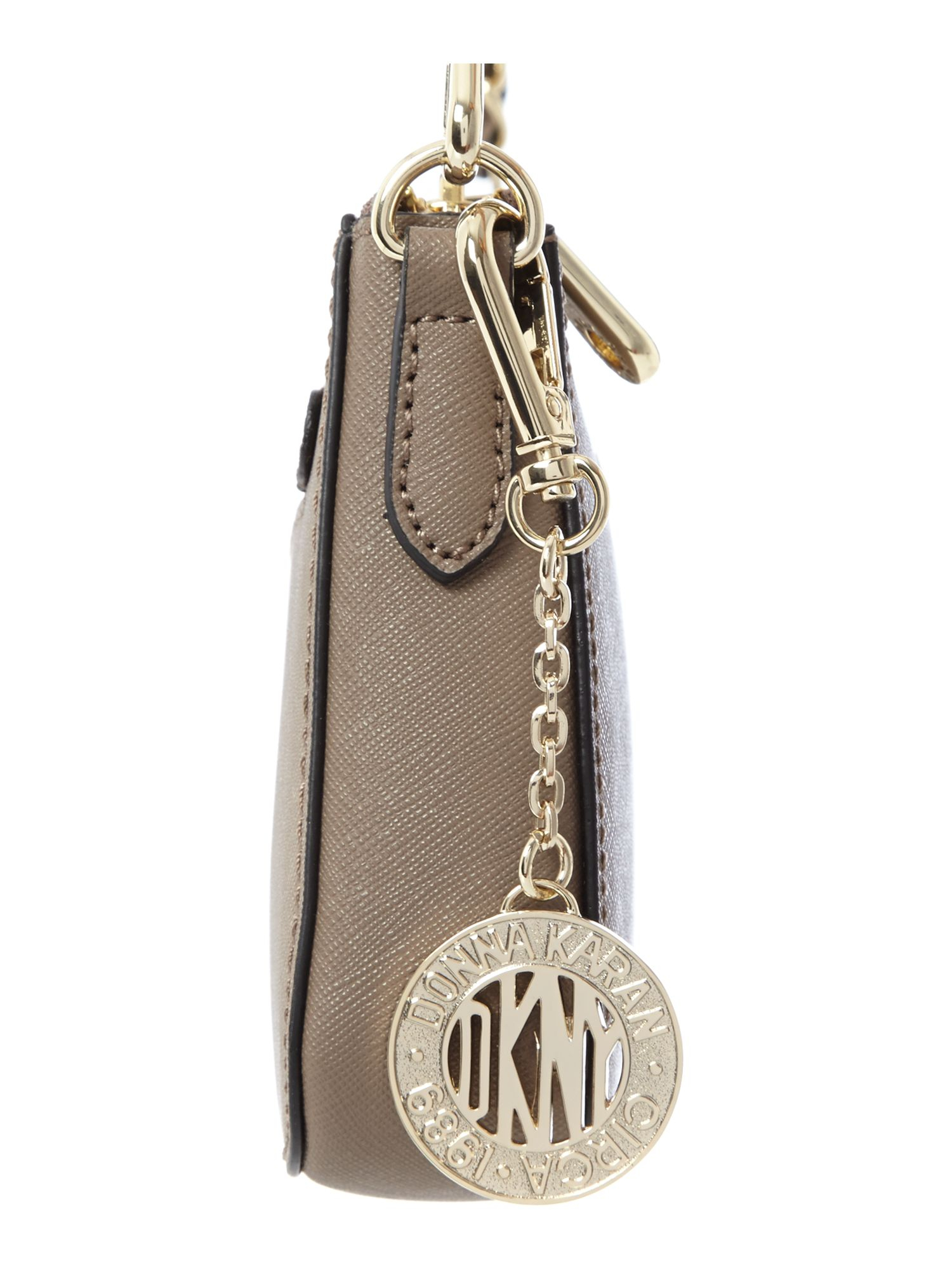 DKNY Saffiano Brown Small Chain Cross Body Bag