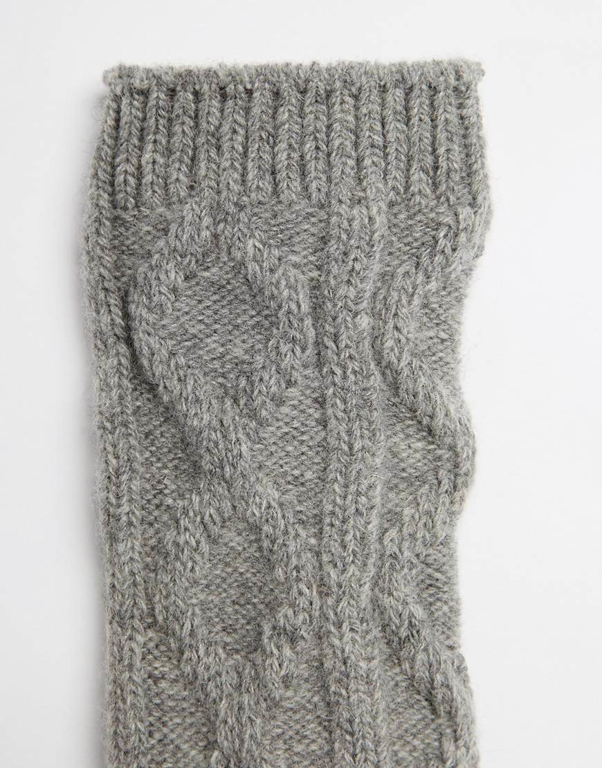 Vero Moda Knitting Yarns : Vero moda chunky cable knit socks in gray lyst