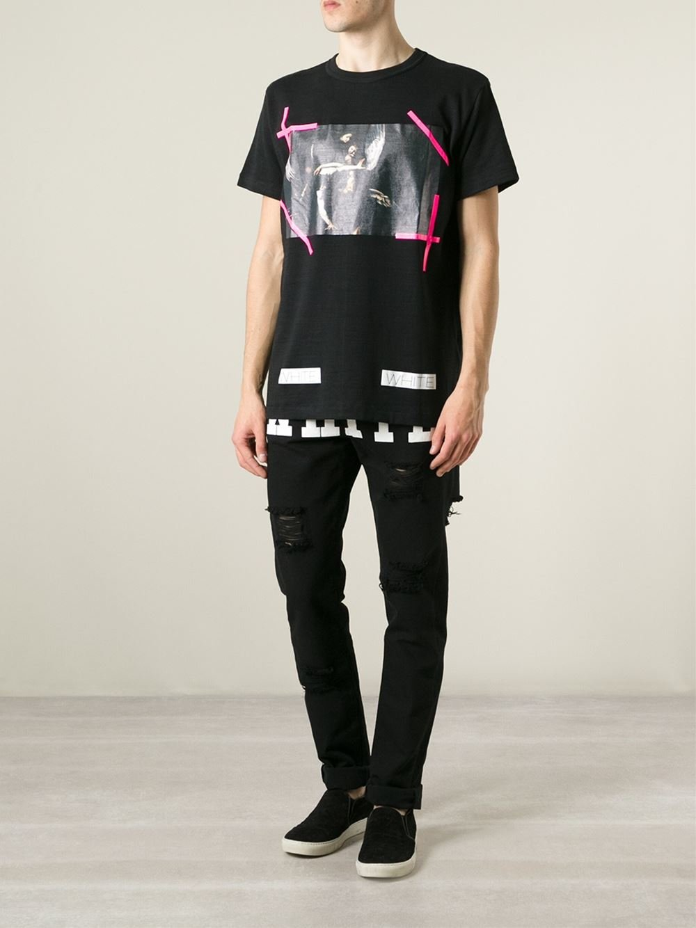 Off-White c/o Virgil Abloh Canvas Distressed Printed Trousers in Black for Men