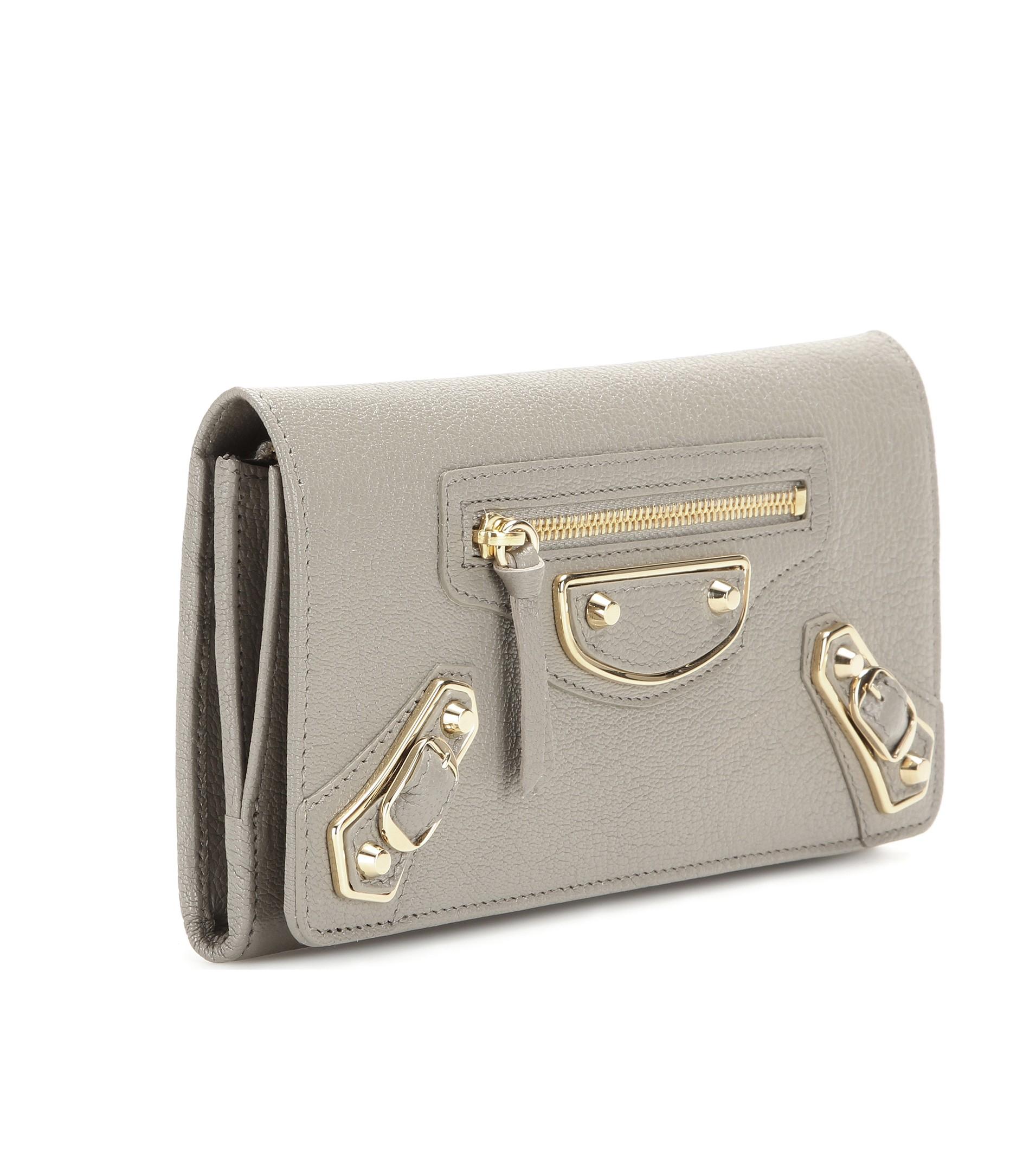 4a9cecc7975 Balenciaga Metallic Edge Money Flap Leather Wallet in Brown - Lyst