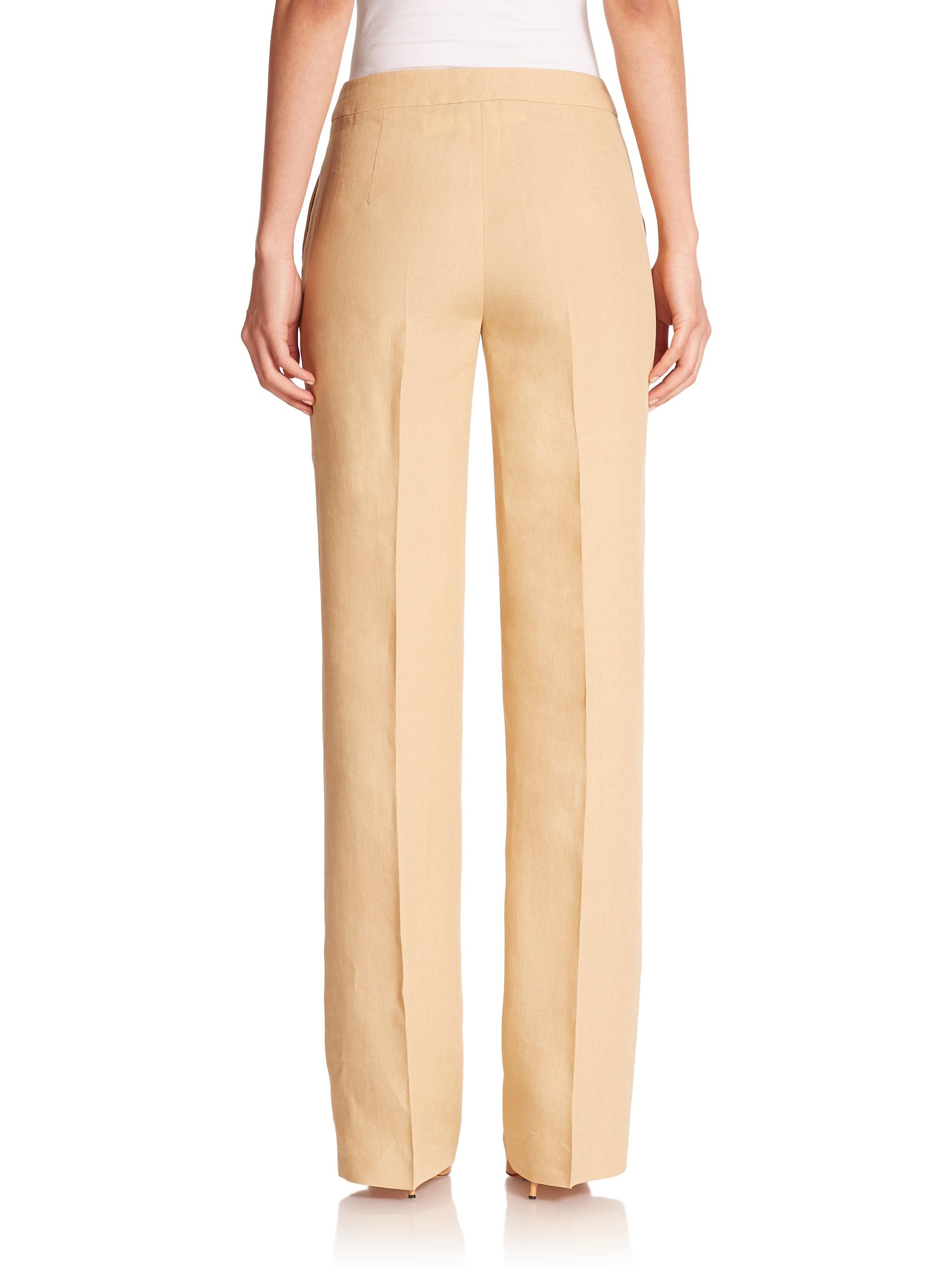 Max mara Valvola Linen Wide-Leg Pants in Natural   Lyst
