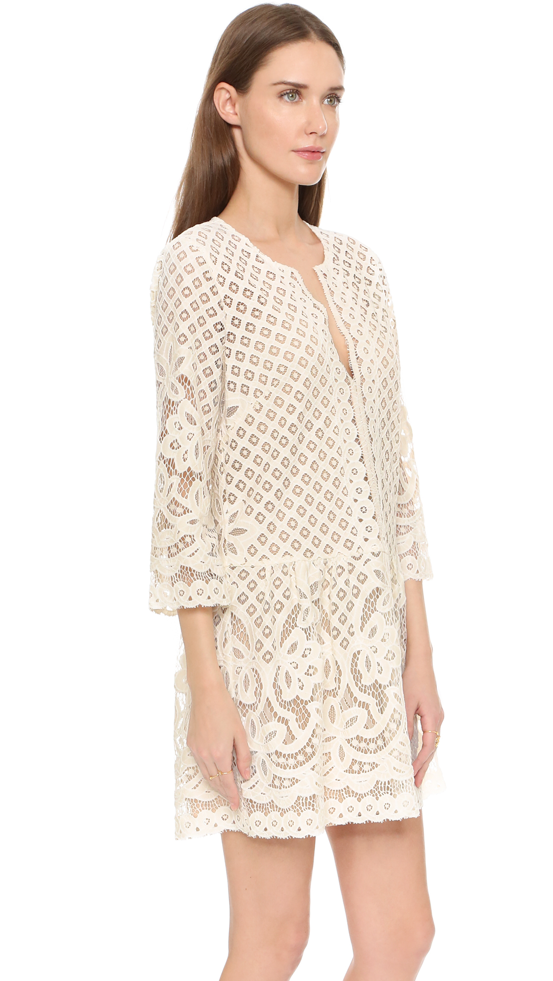 Bcbgmaxazria Laurice Lace Dress In Ivory White Lyst