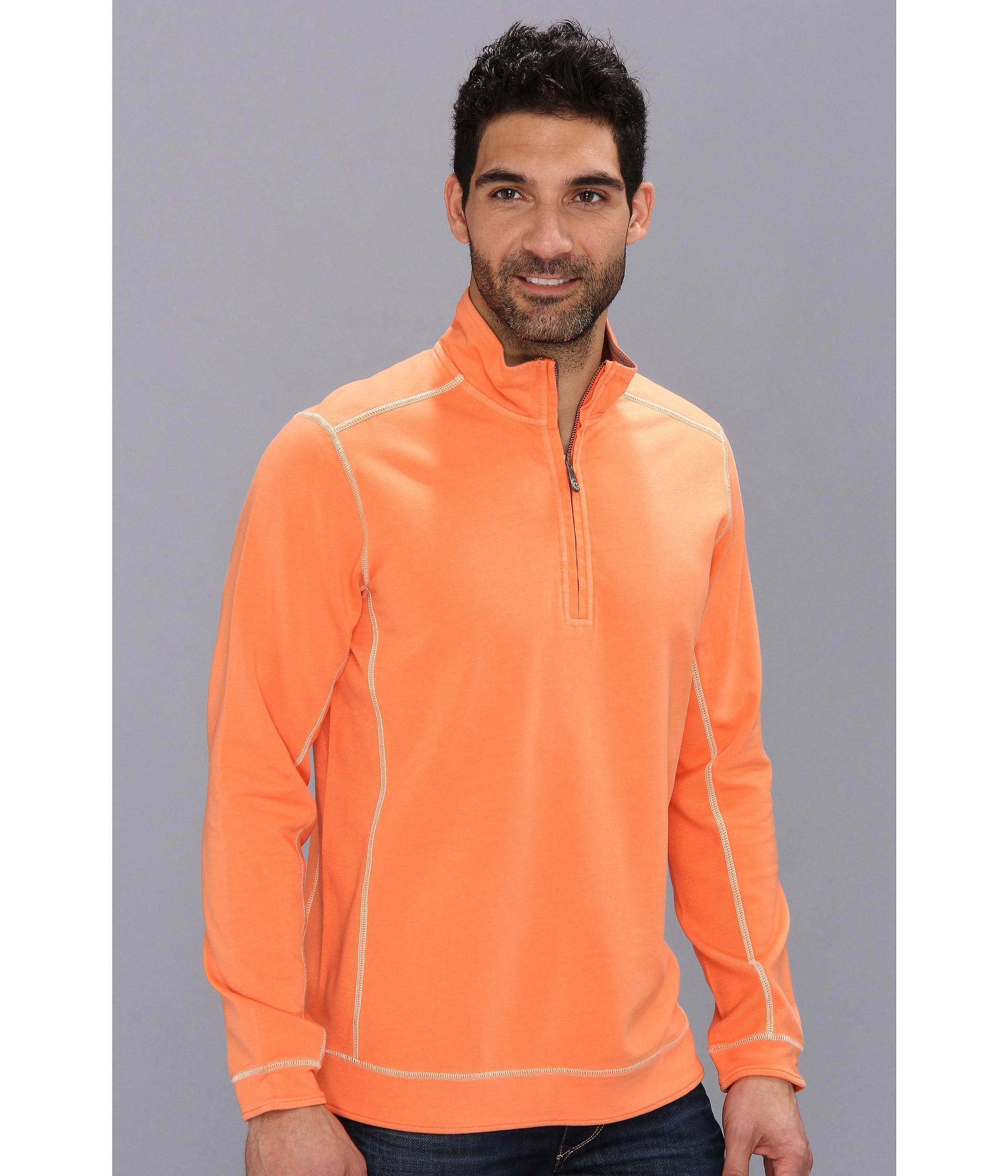 Tommy Bahama Ben And Terry Halfzip Sweatshirt In Orange